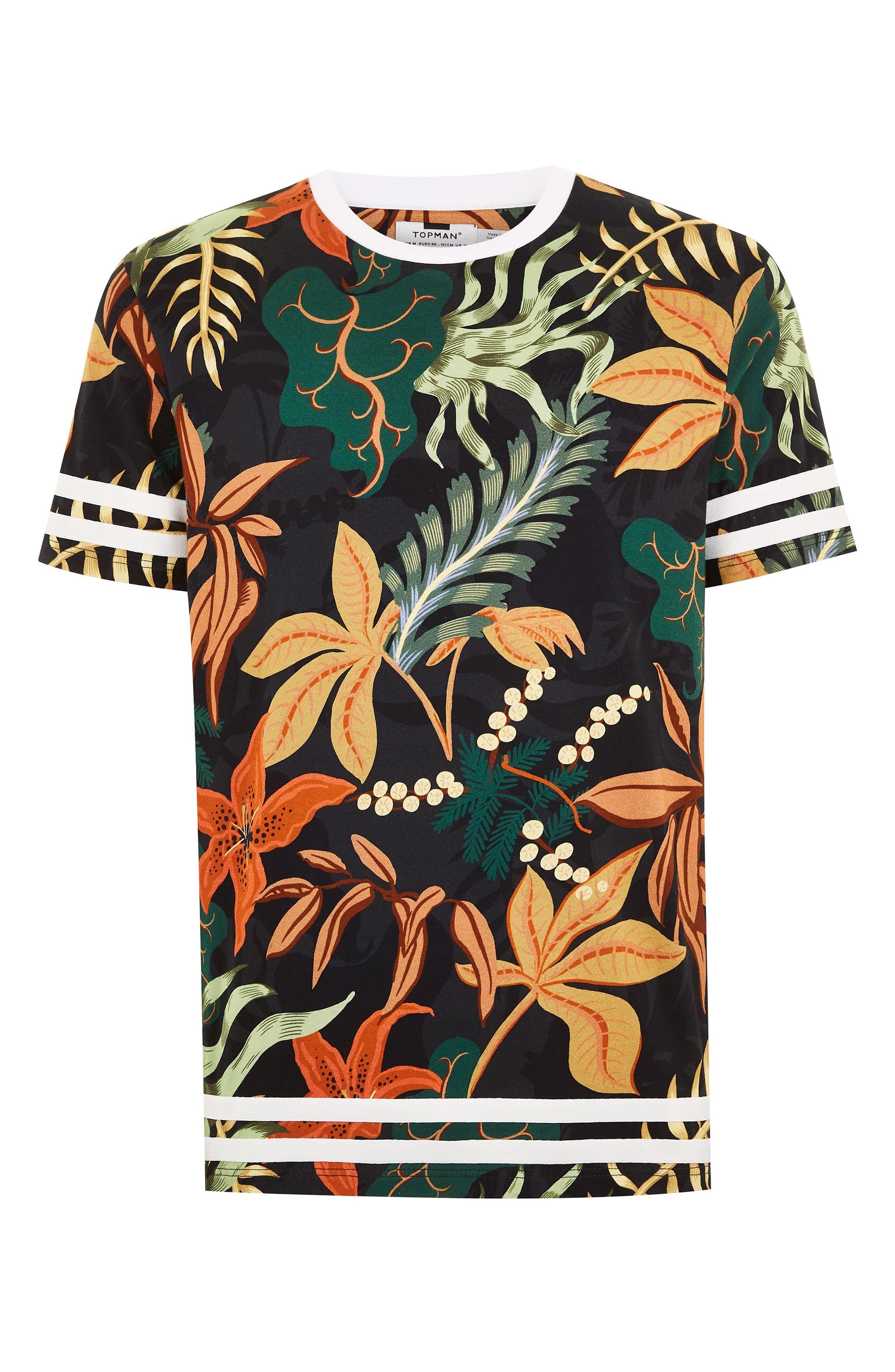 Tape Floral Print T-Shirt,                             Alternate thumbnail 3, color,                             BLACK MULTI