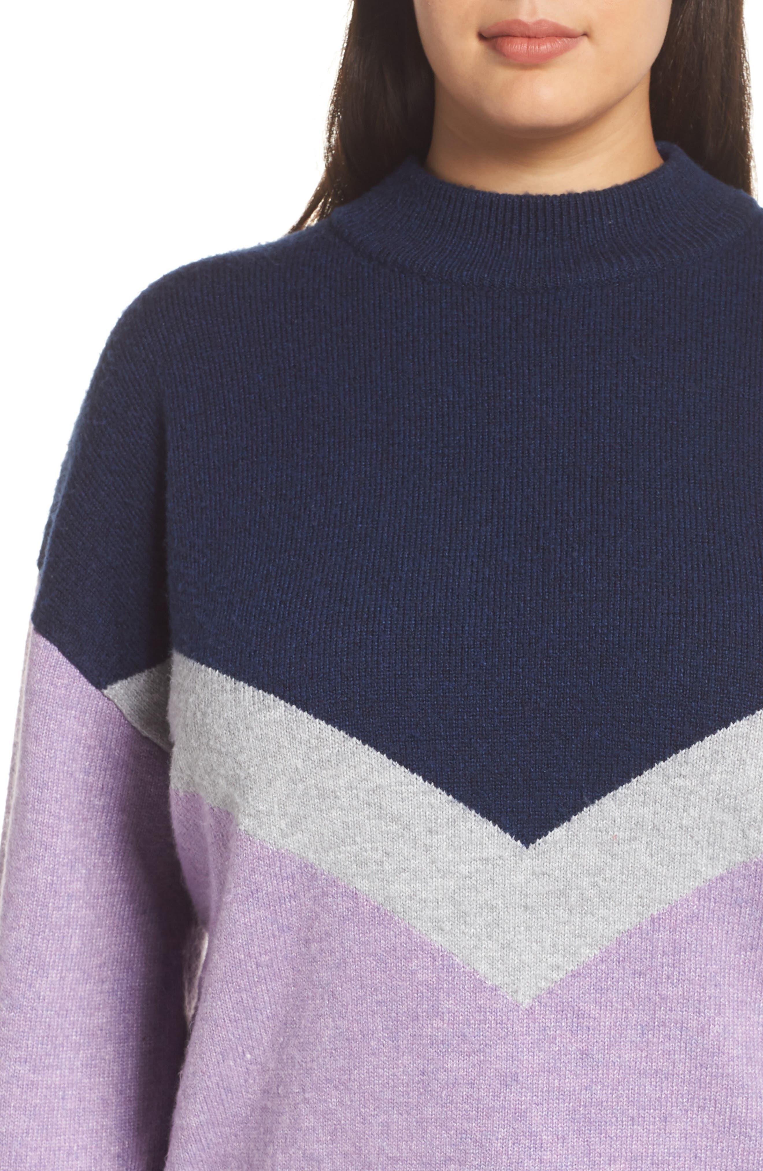 Chevron Stripe Sweater,                             Alternate thumbnail 4, color,                             PURPLE WAVE CHALET