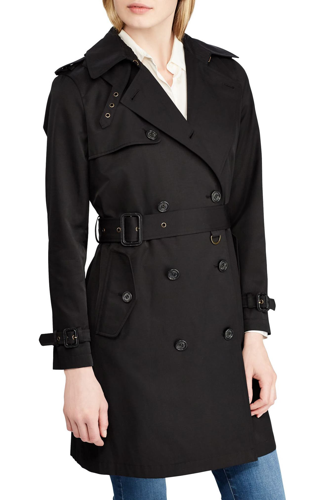 LAUREN RALPH LAUREN Double Breasted Trench Coat, Main, color, 001