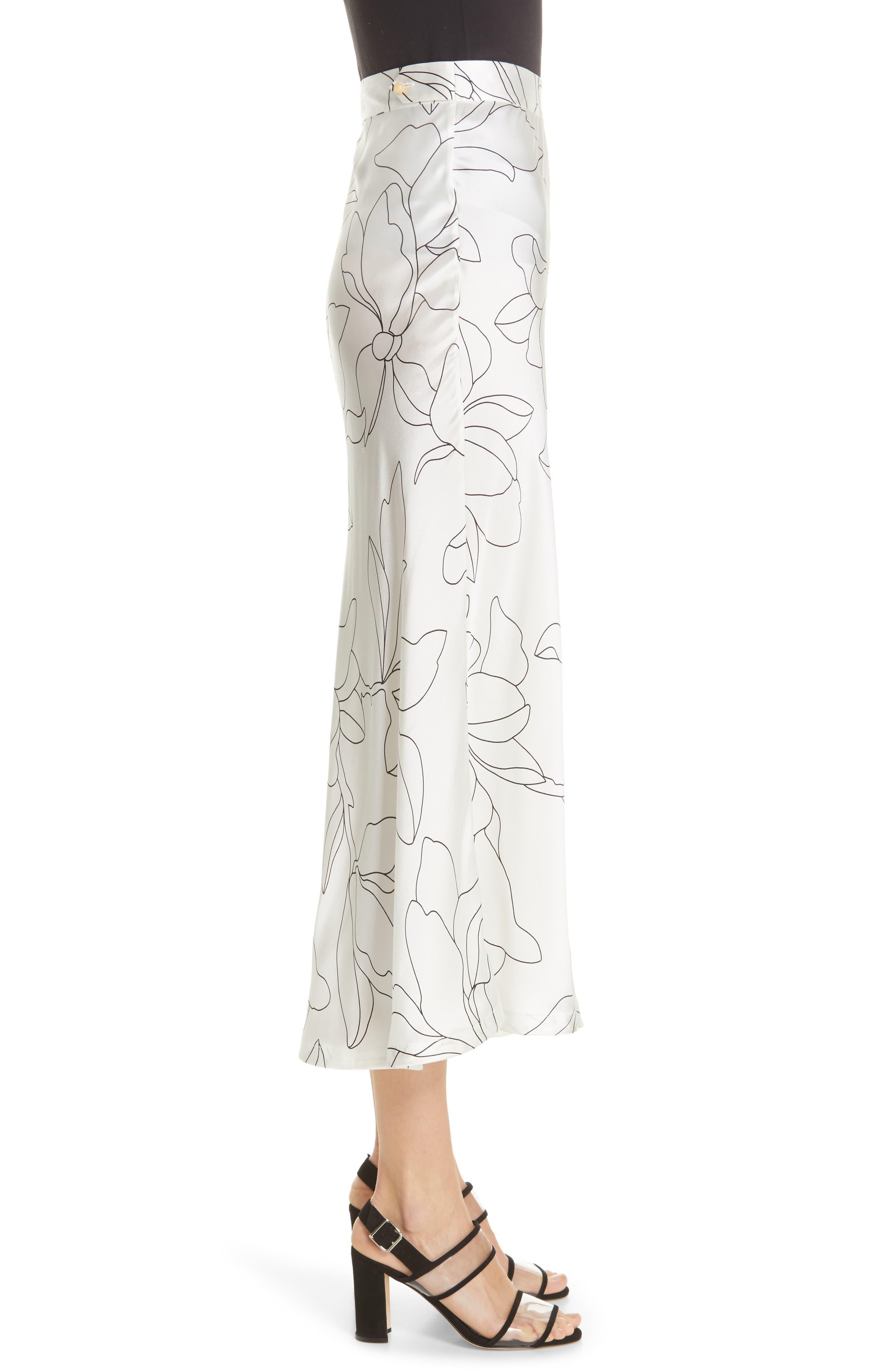 Iva Floral Silk Midi Skirt,                             Alternate thumbnail 3, color,                             NATURAL WHITE TRUE BLACK