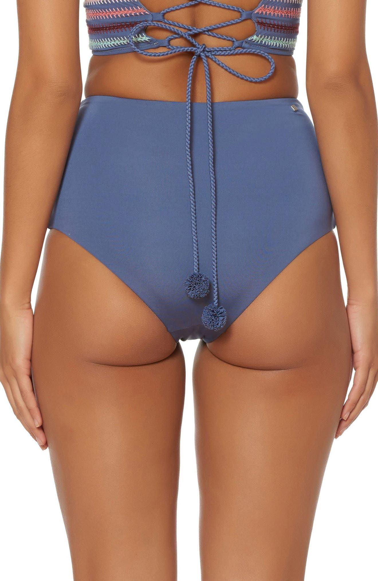 Embroidered High Waist Bikini Bottoms,                             Alternate thumbnail 3, color,