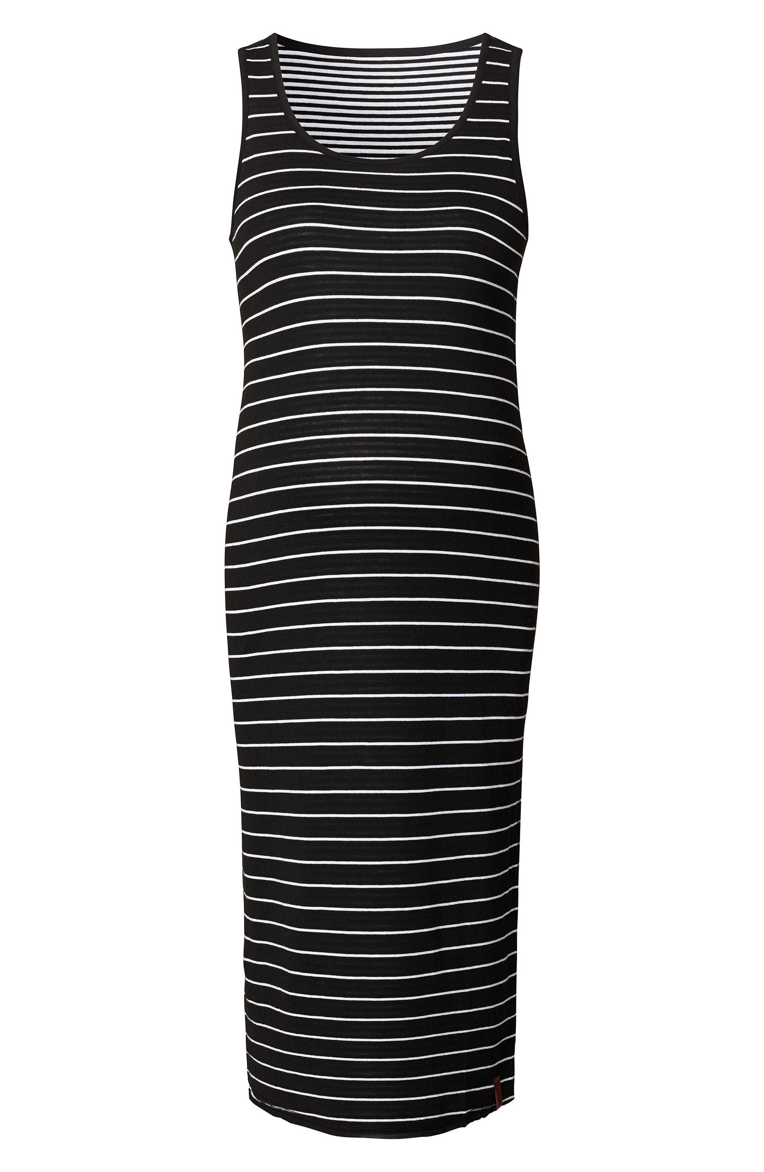 Nora Stripe Maternity Tank Dress,                             Alternate thumbnail 2, color,                             BLACK