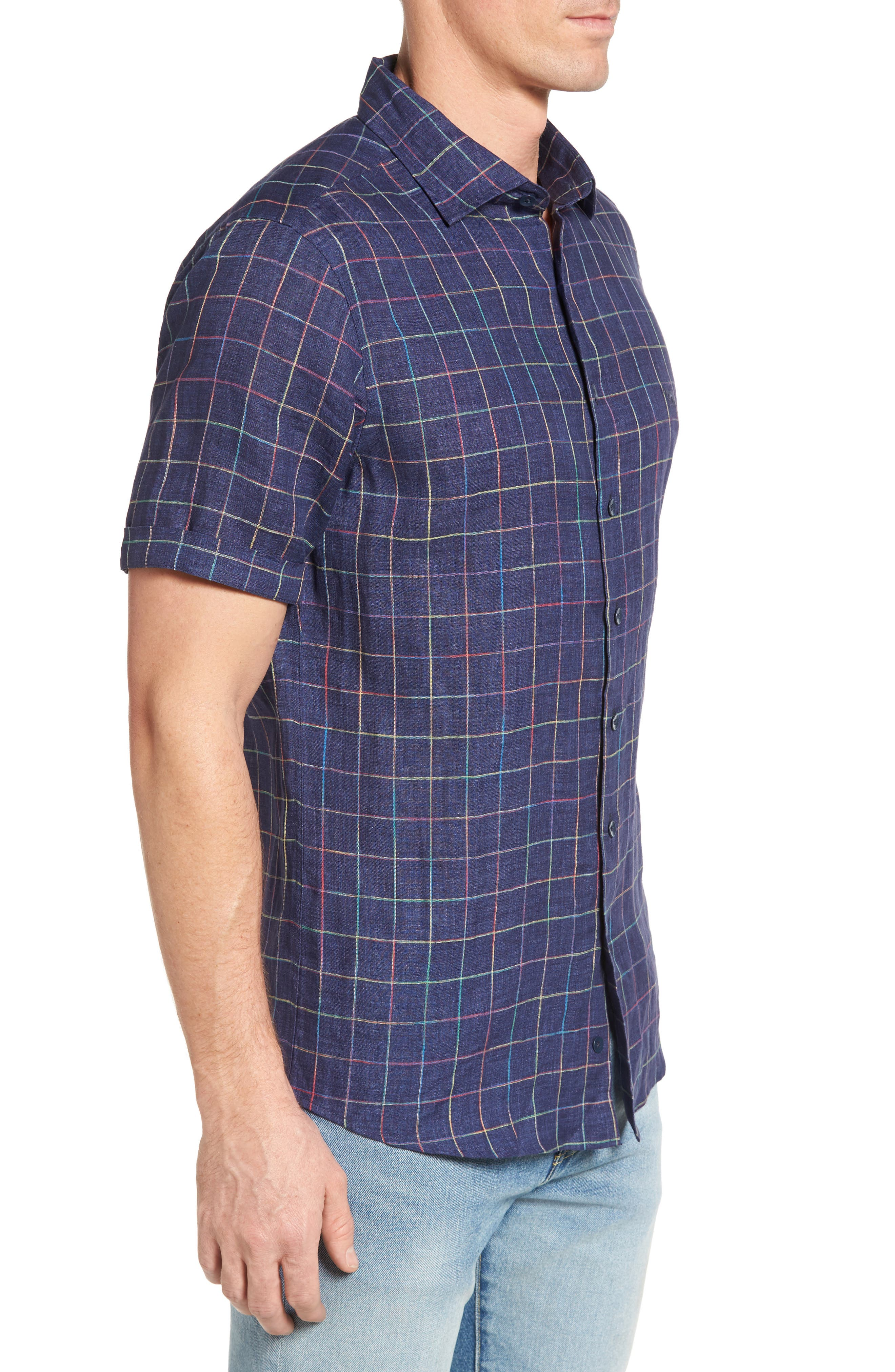 Savill Linen Blend Sport Shirt,                             Alternate thumbnail 3, color,                             410