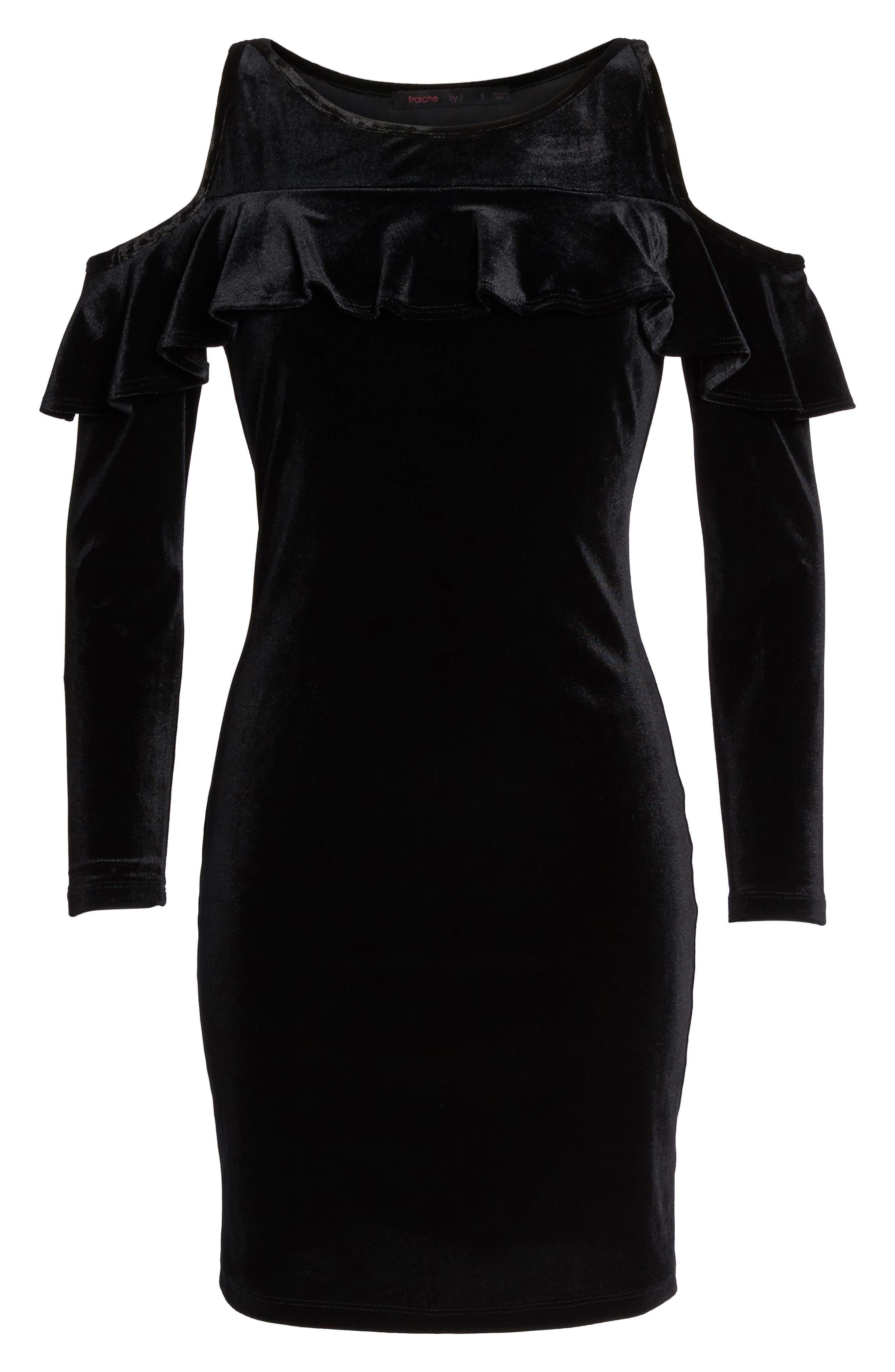 Cold Shoulder Velvet Sheath Dress,                             Alternate thumbnail 6, color,                             001