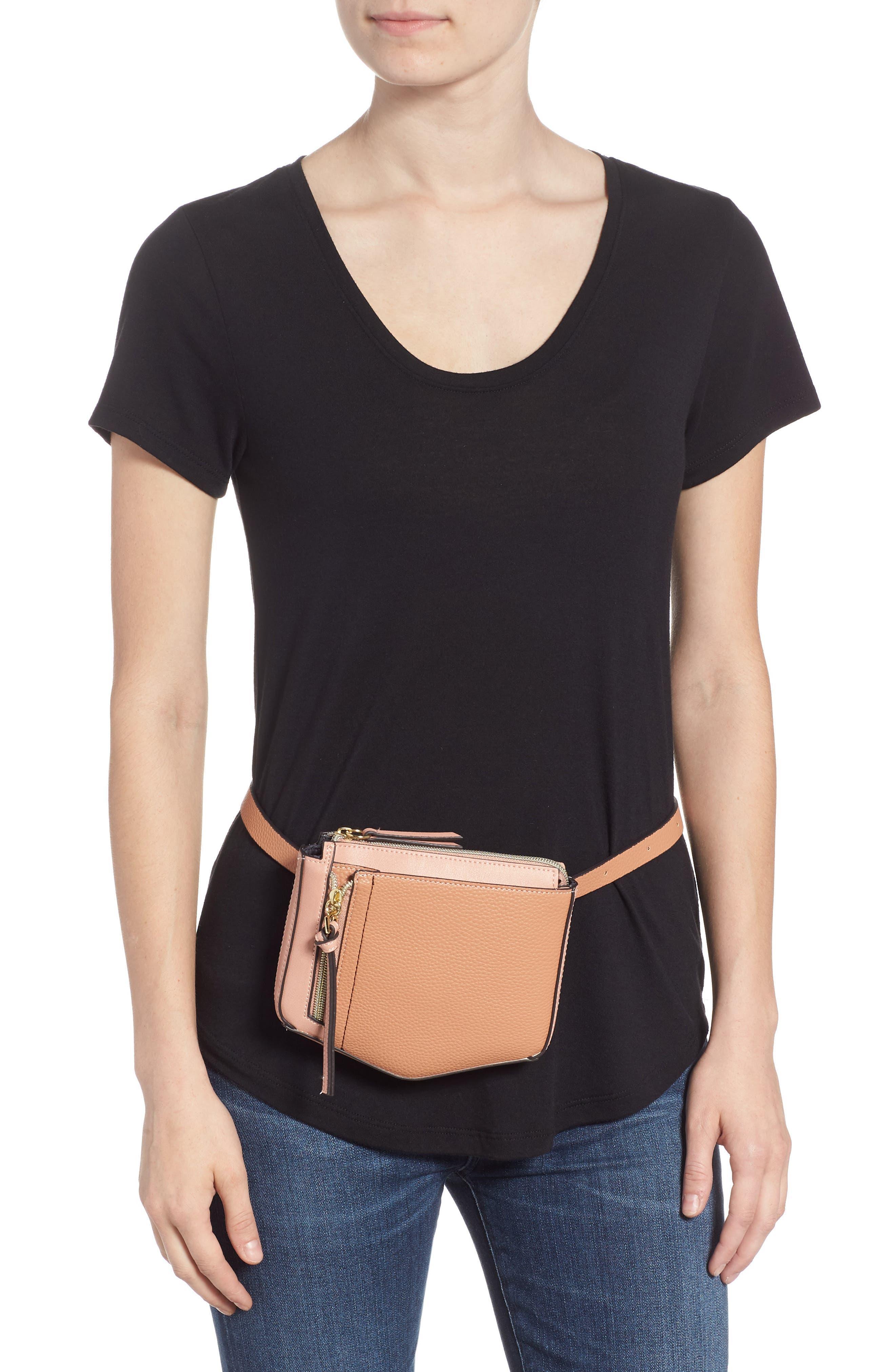 Elia Faux Leather Belt Bag,                             Alternate thumbnail 2, color,                             TAN COMBO