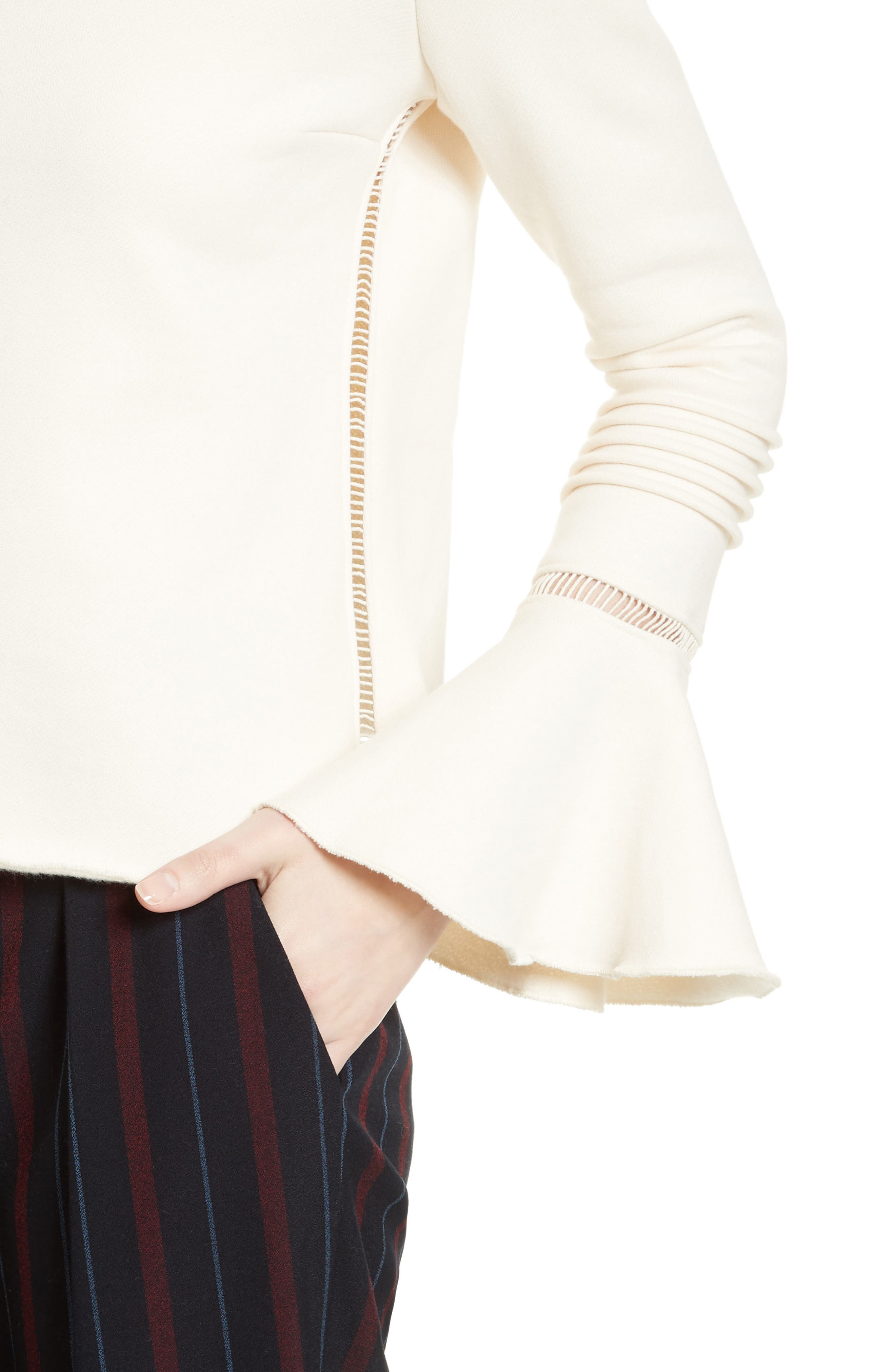 Bell Sleeve Cotton Top,                             Alternate thumbnail 4, color,                             900