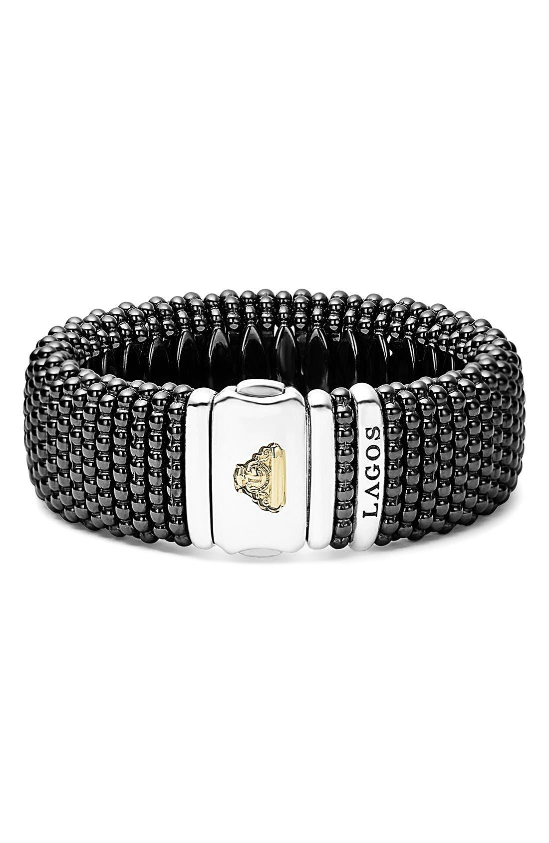 'Caviar Rope' Bracelet,                             Alternate thumbnail 3, color,                             BLACK/ GOLD