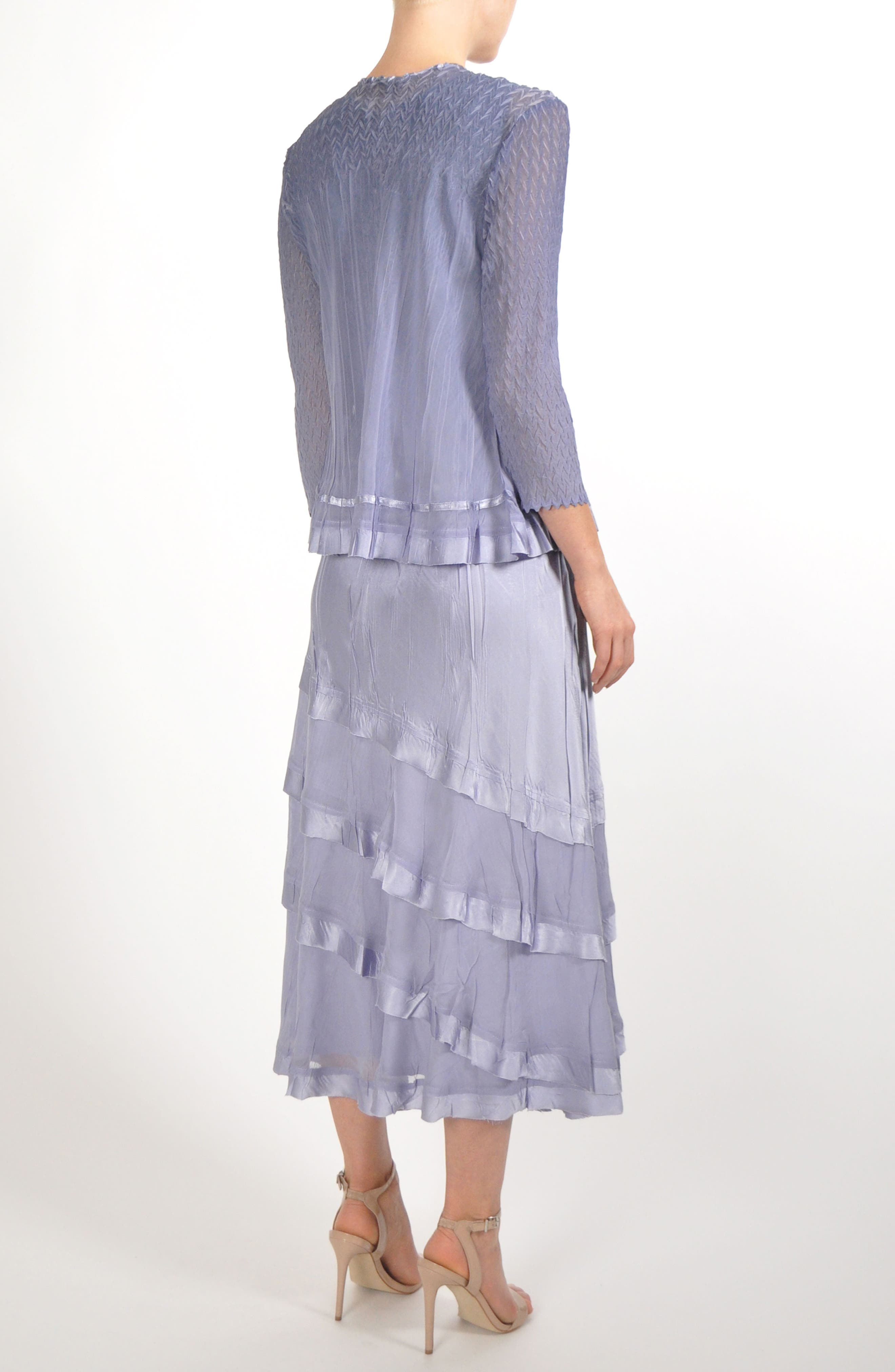 Charmeuse & Chiffon Tiered Hem Dress with Jacket,                             Alternate thumbnail 7, color,                             LAVENDER GREY BLUE OMBRE