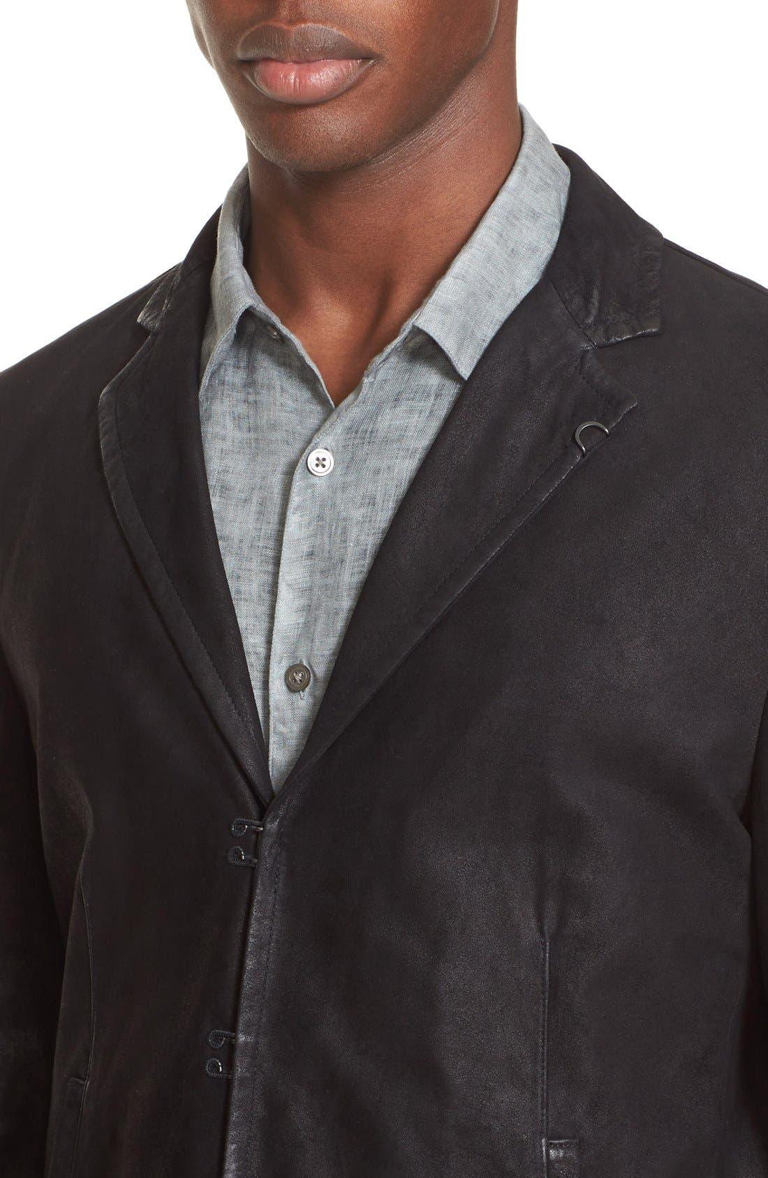 Slim Fit Leather Sport Coat,                             Alternate thumbnail 4, color,                             001