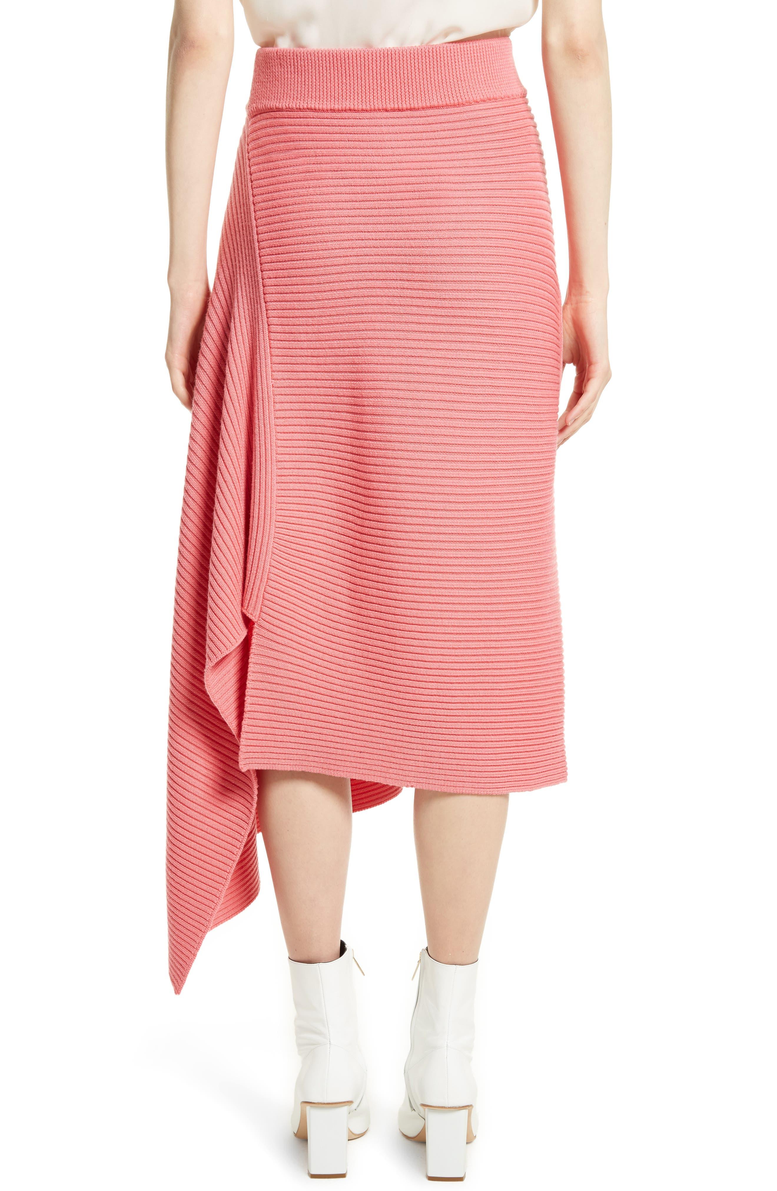 Asymmetrical Rib Merino Wool Skirt,                             Alternate thumbnail 2, color,                             650