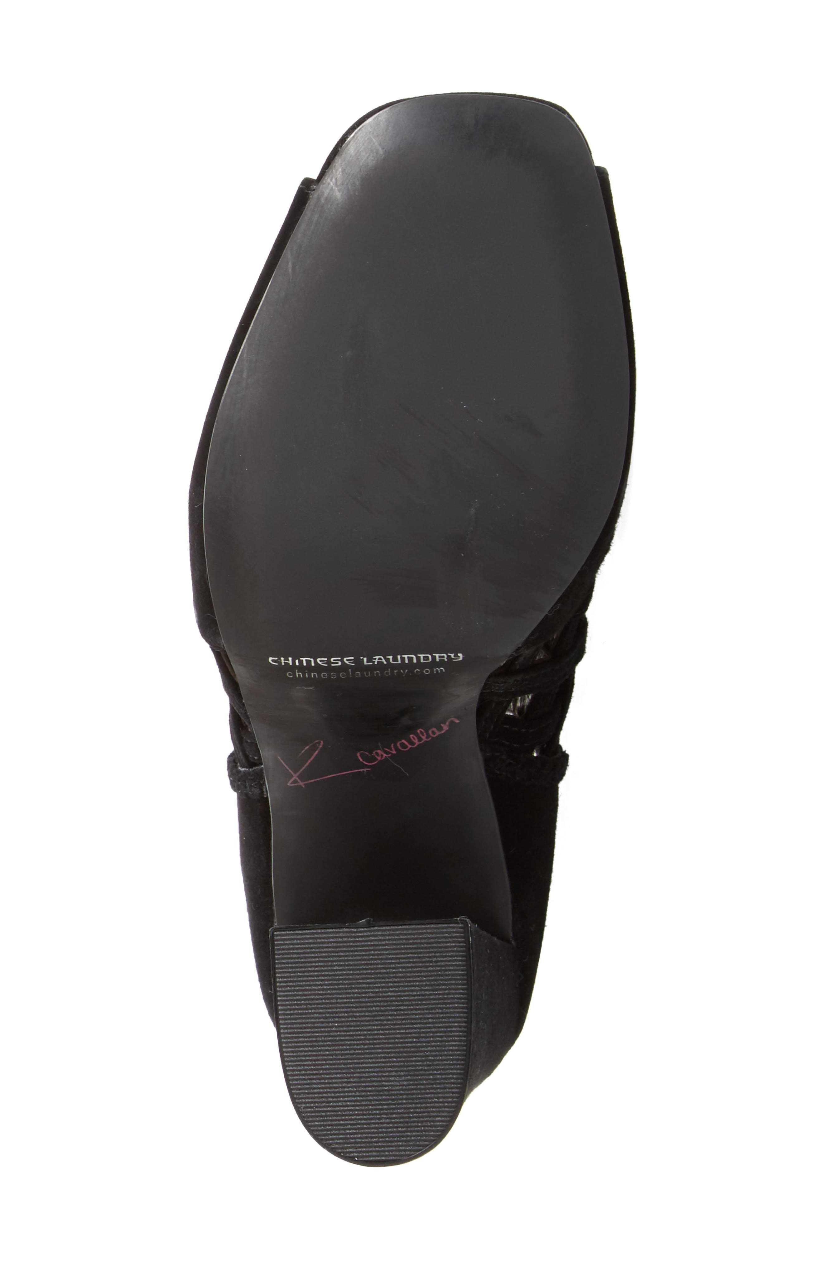 Luxembourg Cage Peep Toe Bootie,                             Alternate thumbnail 4, color,                             001