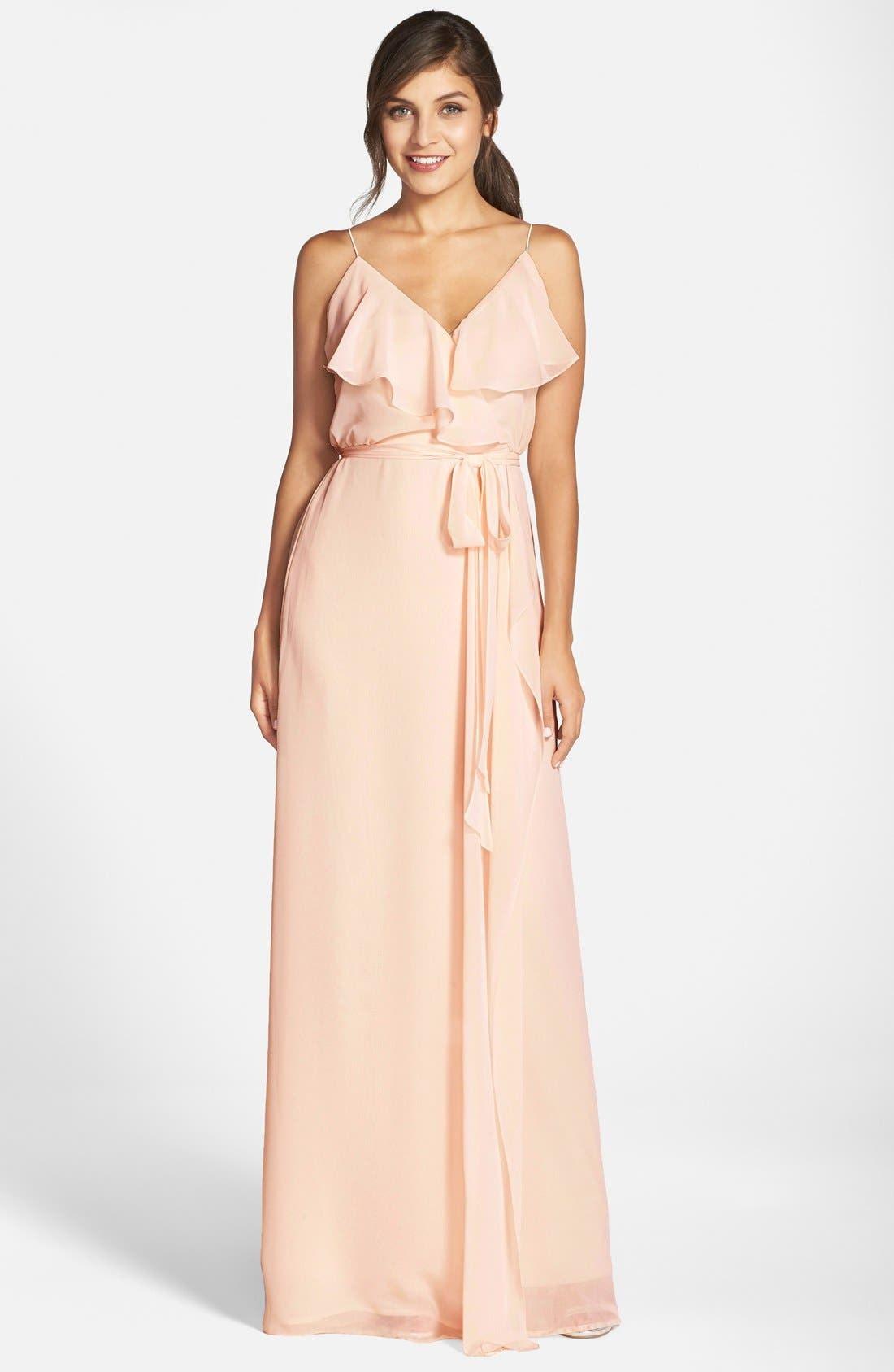 'Drew' Ruffle Front Chiffon Gown,                             Main thumbnail 13, color,