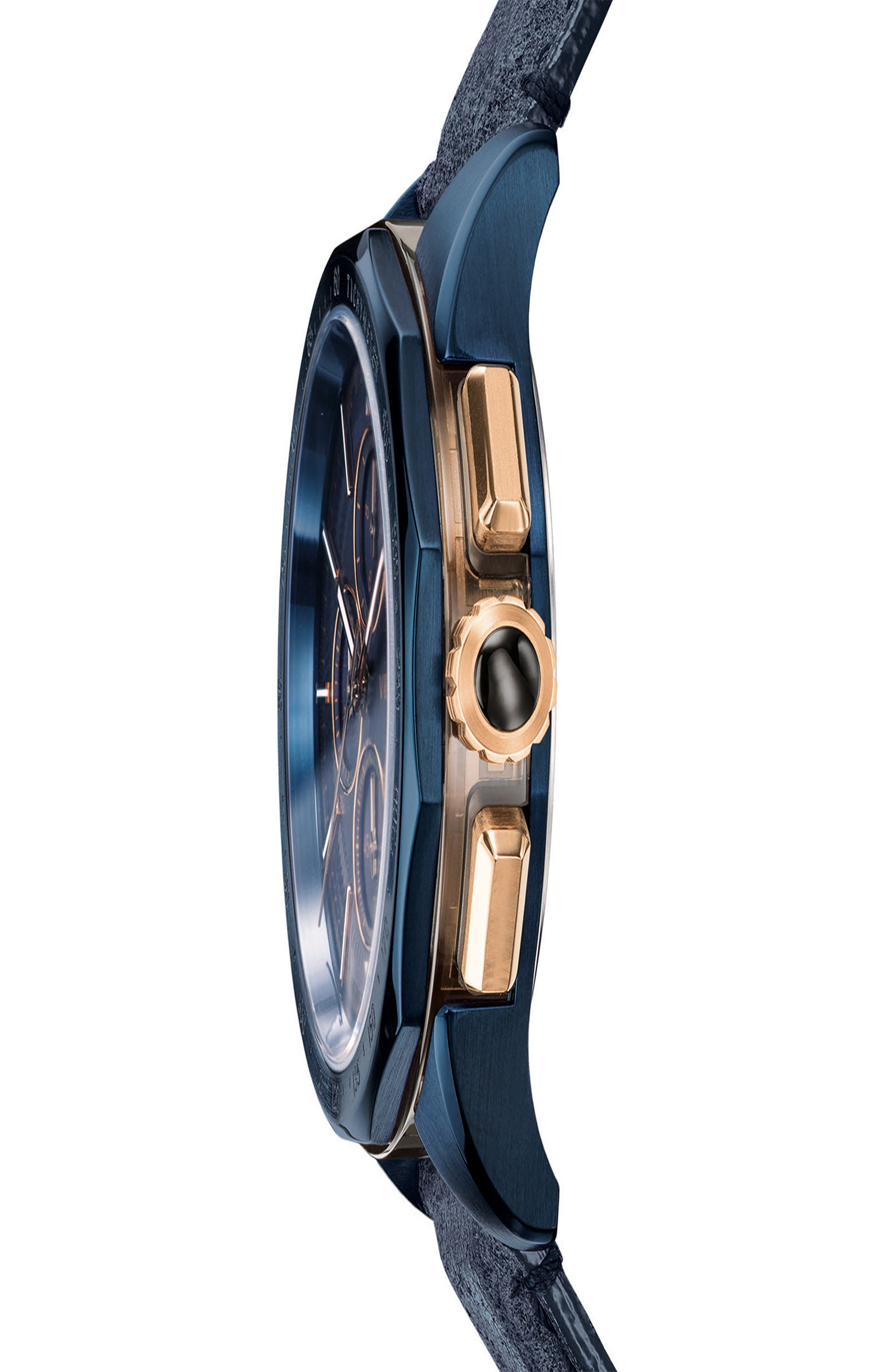 VERSACE,                             Glaze Chronograph Leather Strap Watch, 44mm,                             Alternate thumbnail 4, color,                             BLUE
