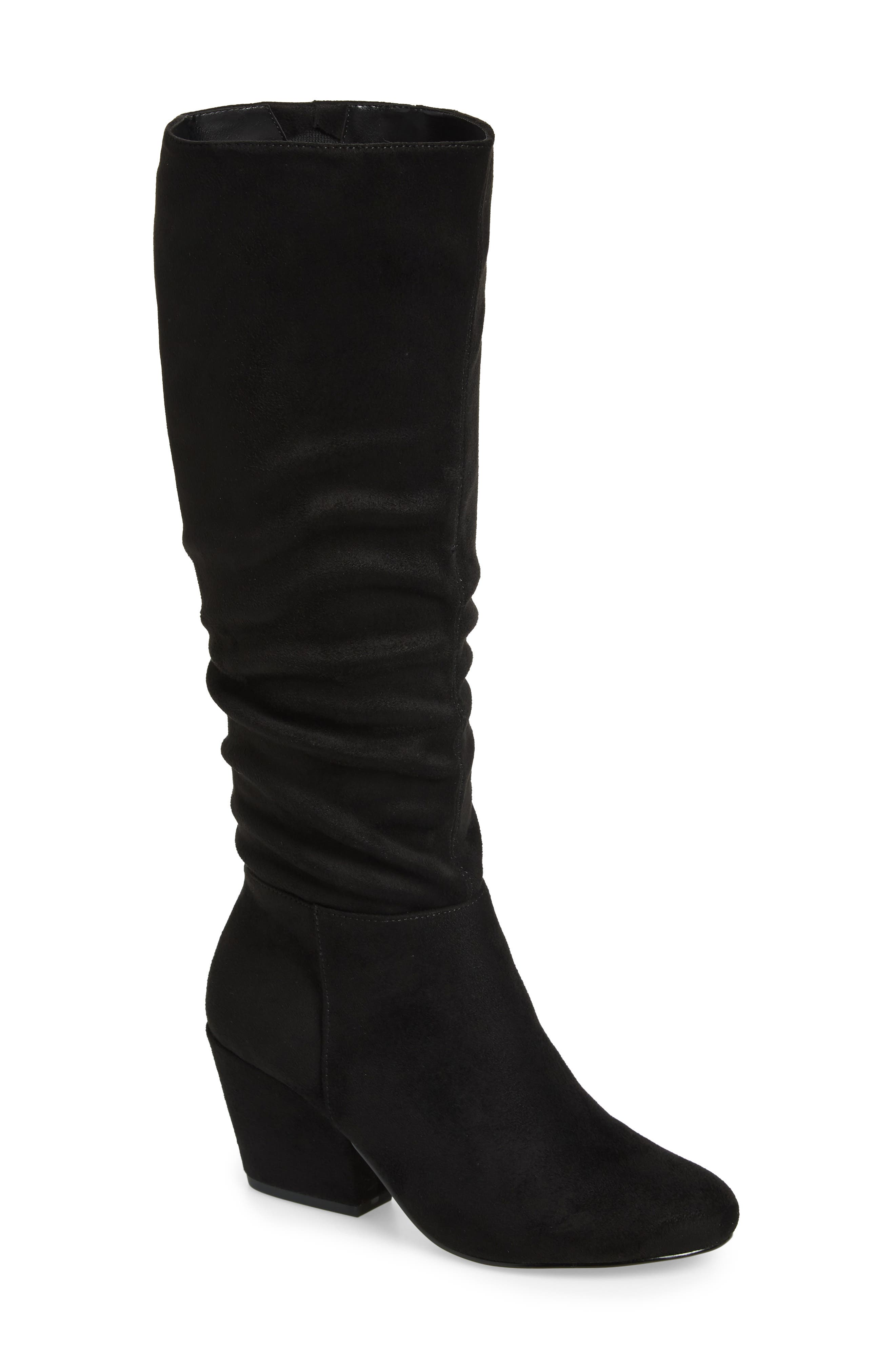 Karen II Knee High Slouch Boot,                             Main thumbnail 1, color,                             BLACK FAUX SUEDE
