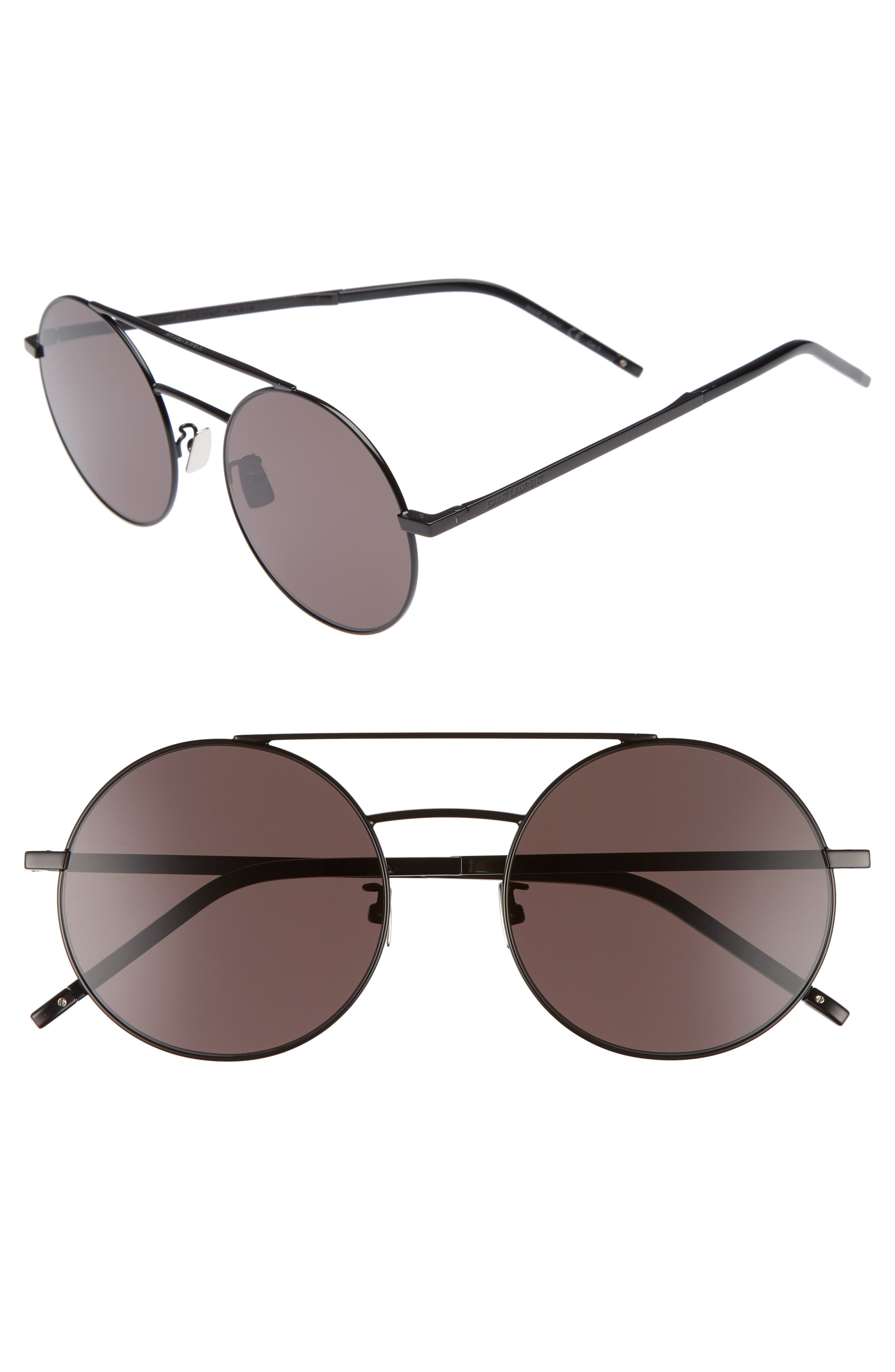 SL 210/F 56mm Round Aviator Sunglasses,                             Main thumbnail 1, color,                             BLACK