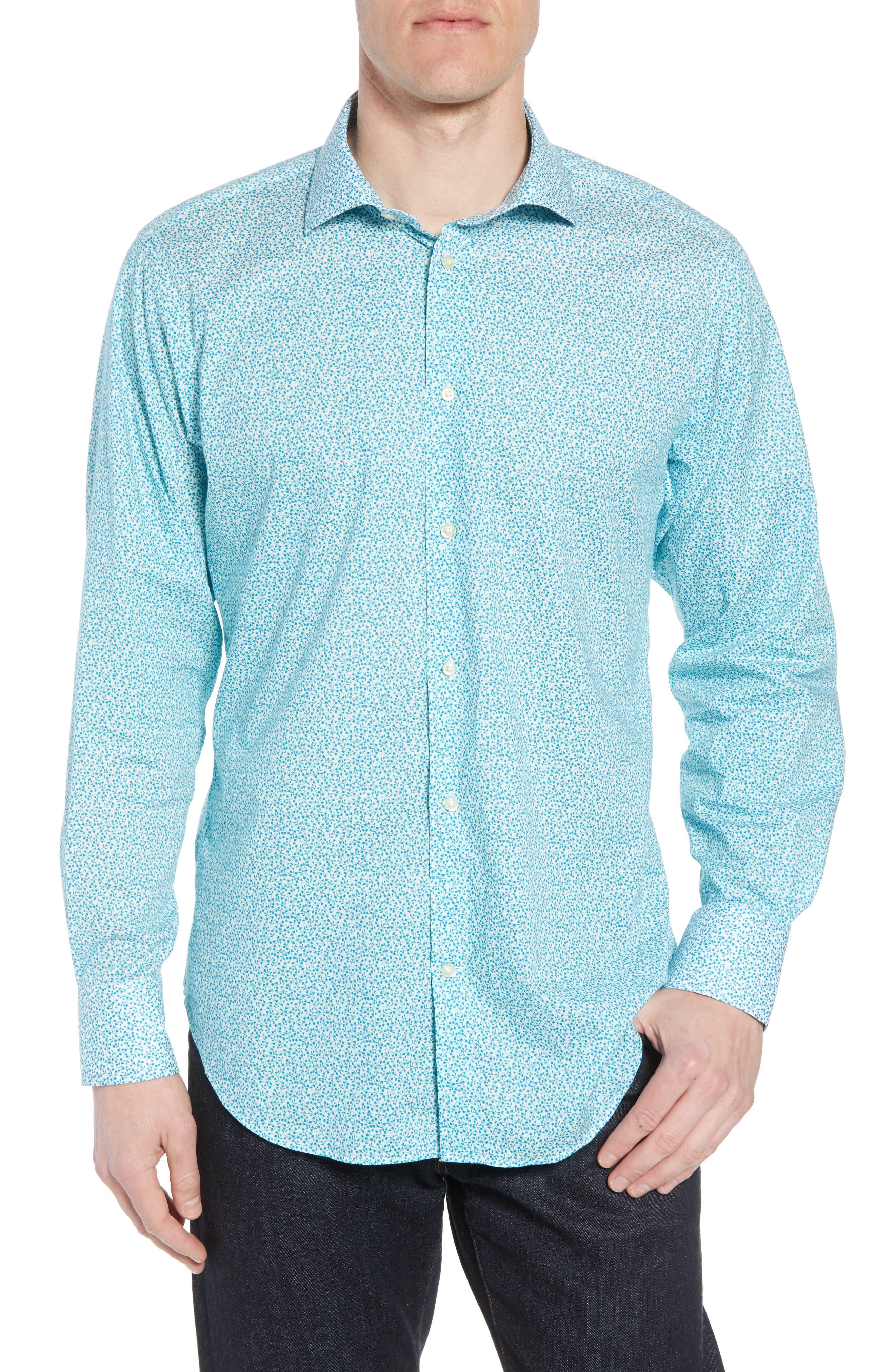 THOMAS DEAN Regular Fit Floral Print Sport Shirt, Main, color, 300