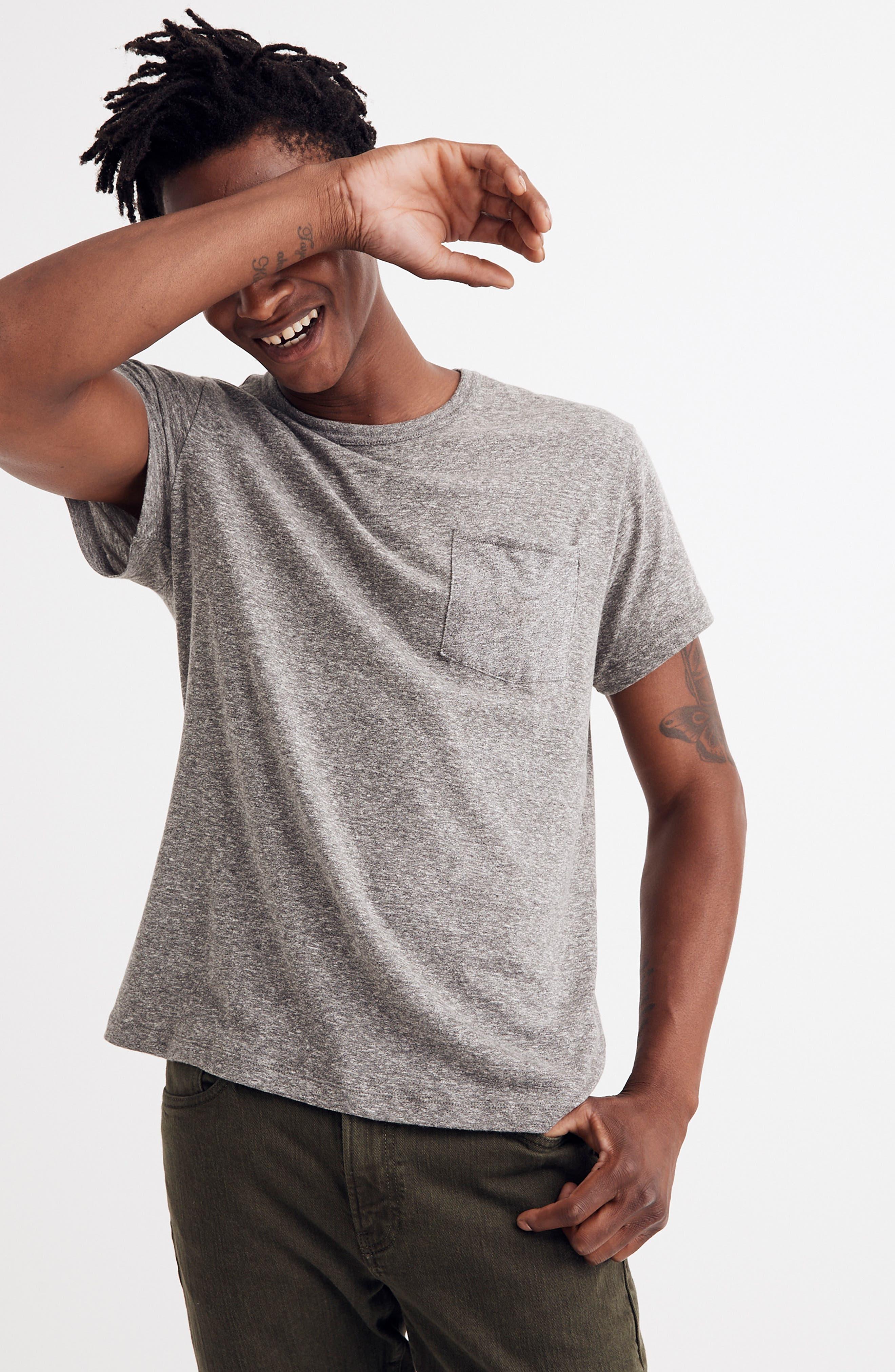 Pocket T-Shirt,                             Alternate thumbnail 4, color,                             HEATHER GREY