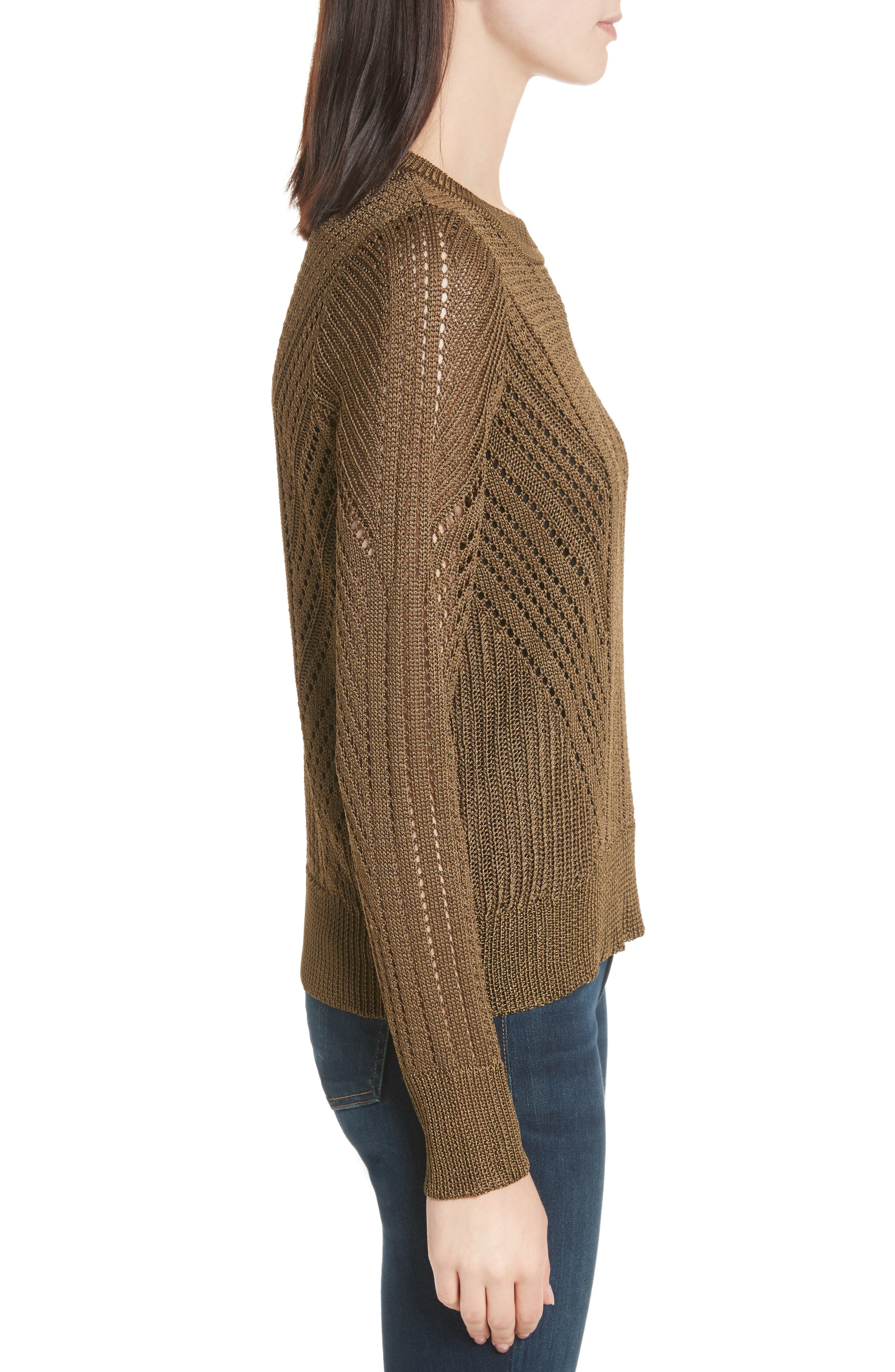 Pamela Crewneck Pointelle Sweater,                             Alternate thumbnail 6, color,