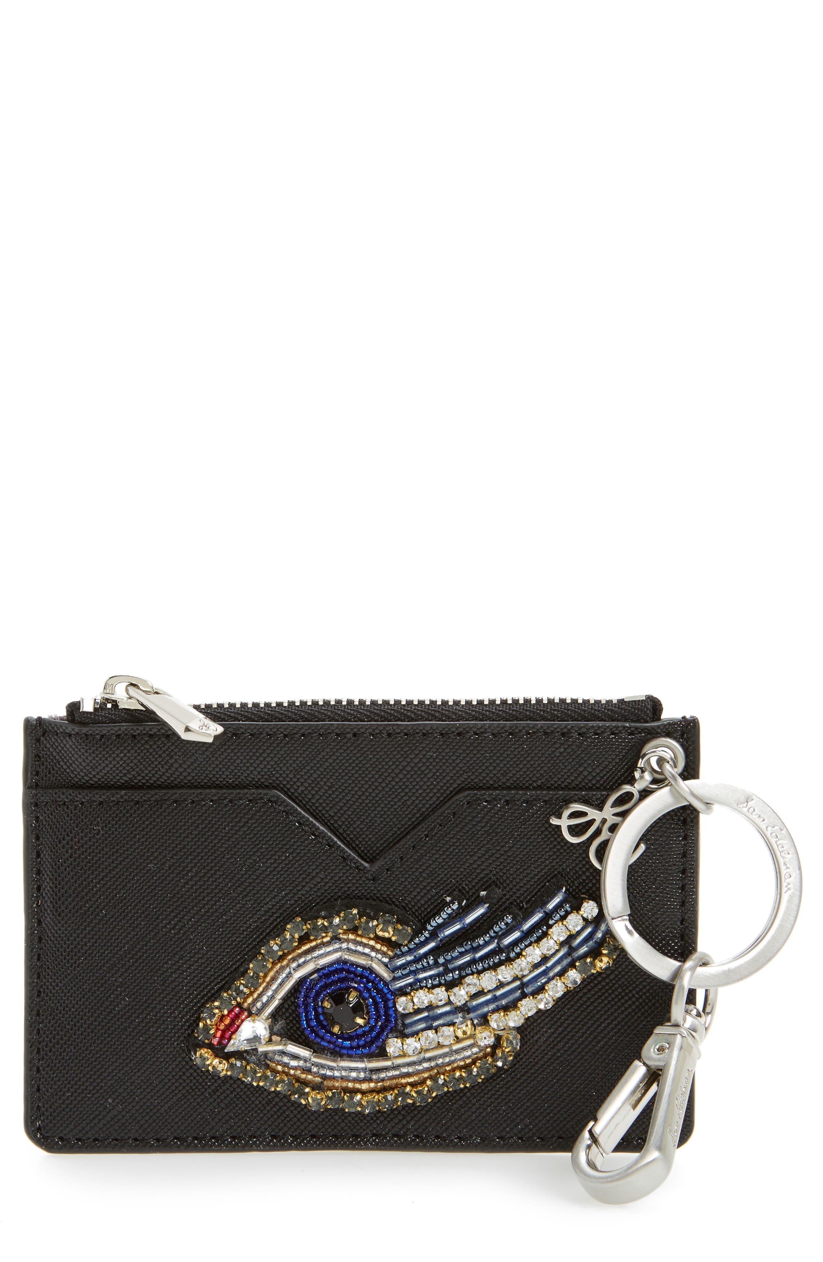 Carter Eye Embellished Faux Leather Card Case,                             Main thumbnail 1, color,                             001
