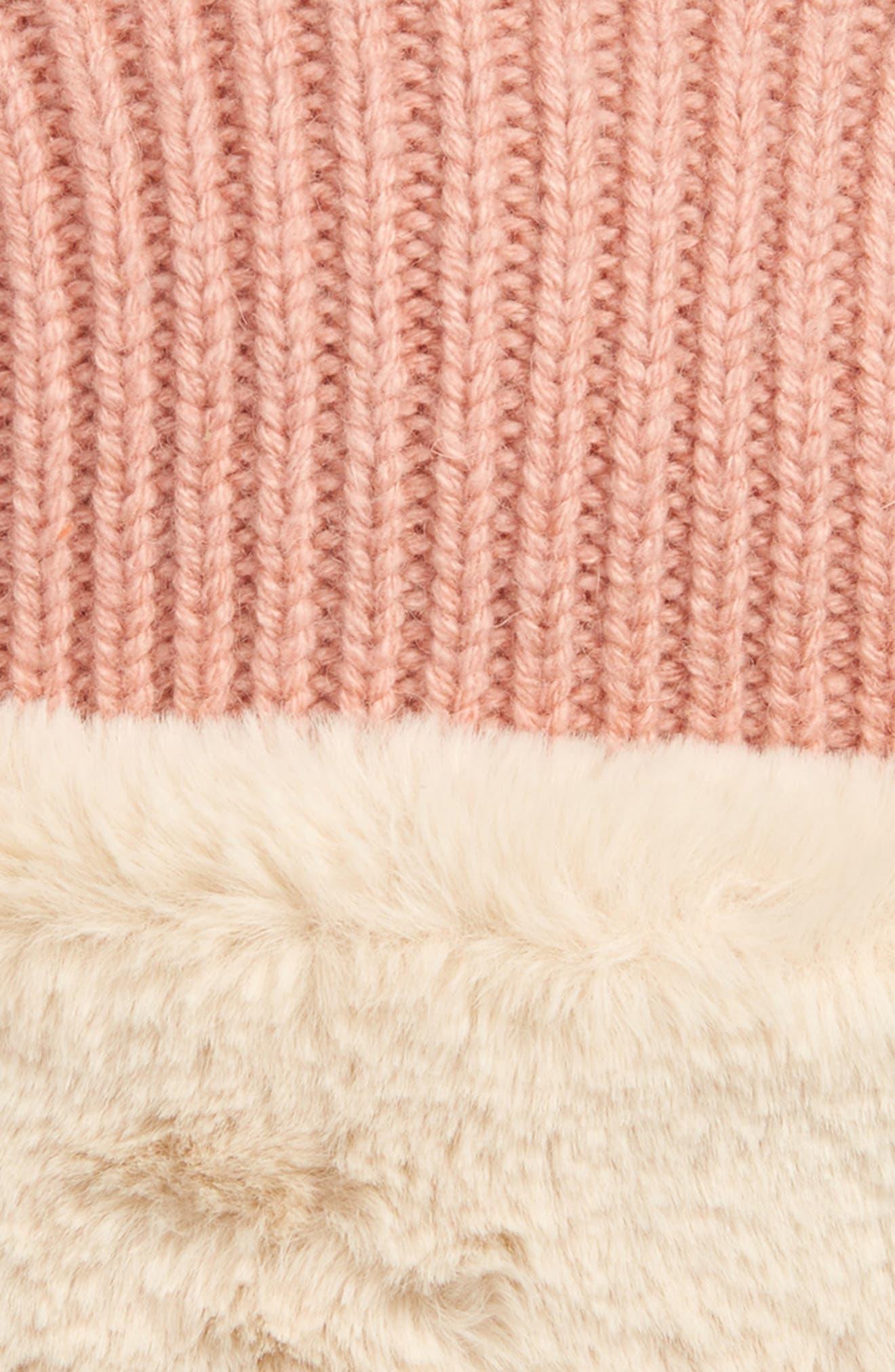 Knit Faux Fur Lined Hat,                             Alternate thumbnail 2, color,                             PALE RED LUREX
