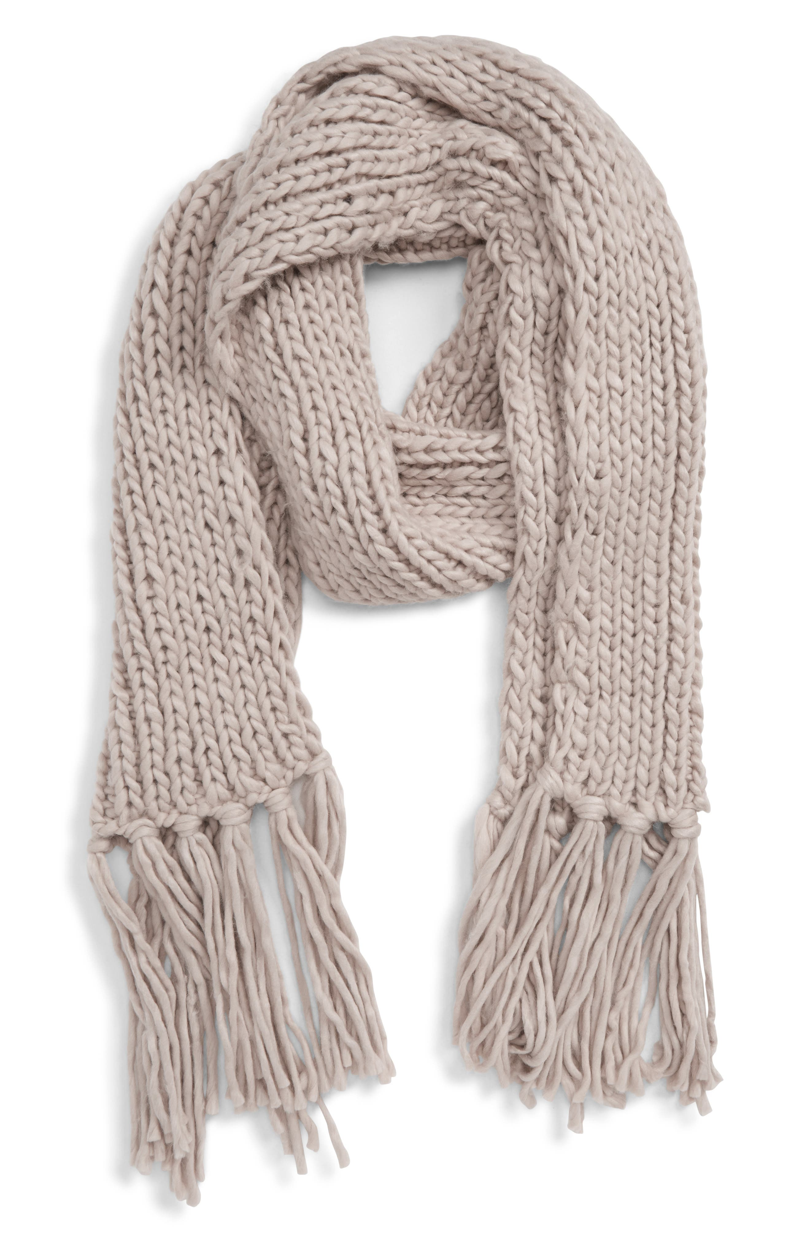 SHIRALEAH Sierra Knit Scarf, Main, color, TAUPE