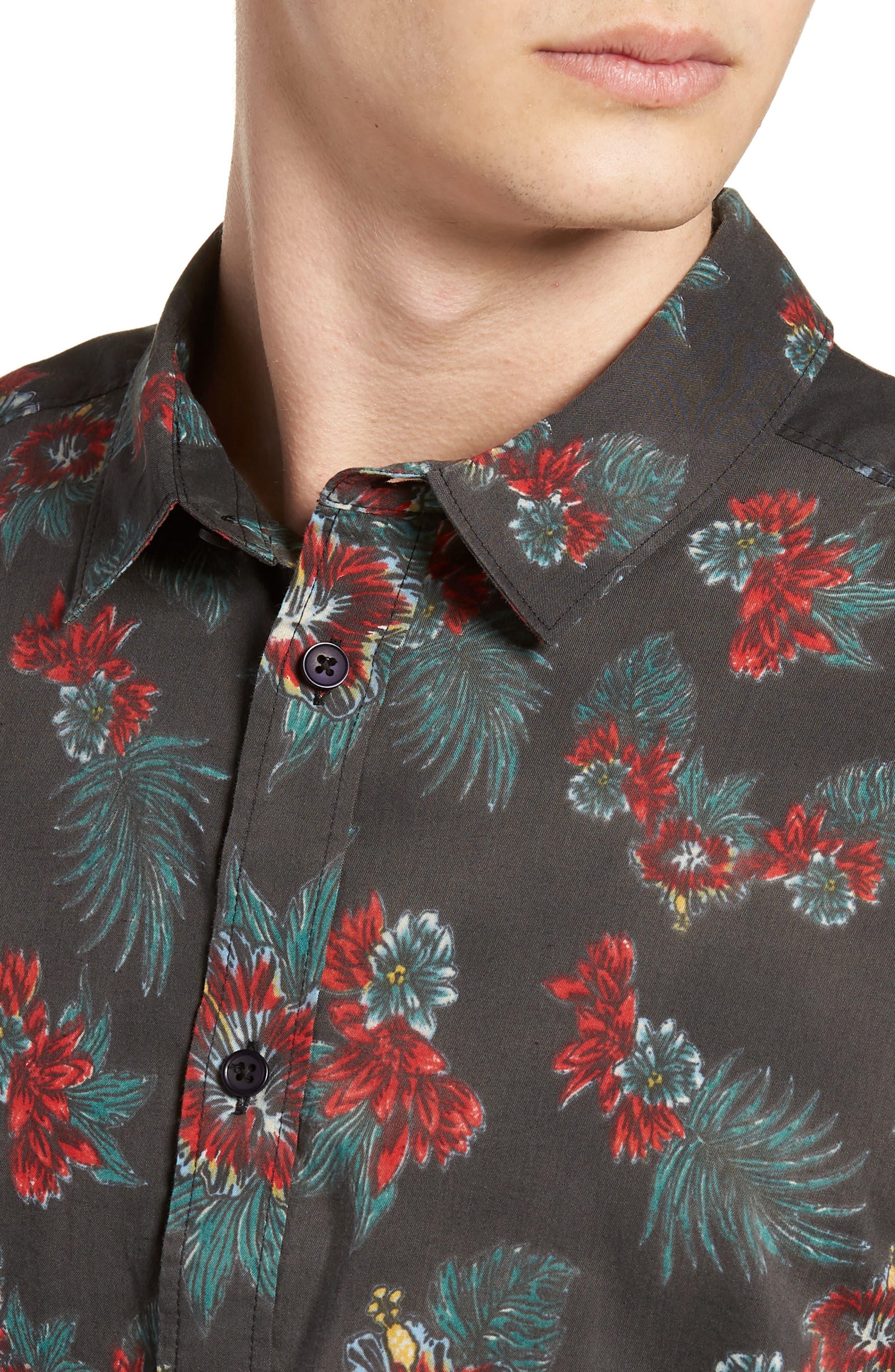 McMillan Floral Woven Shirt,                             Alternate thumbnail 4, color,                             001