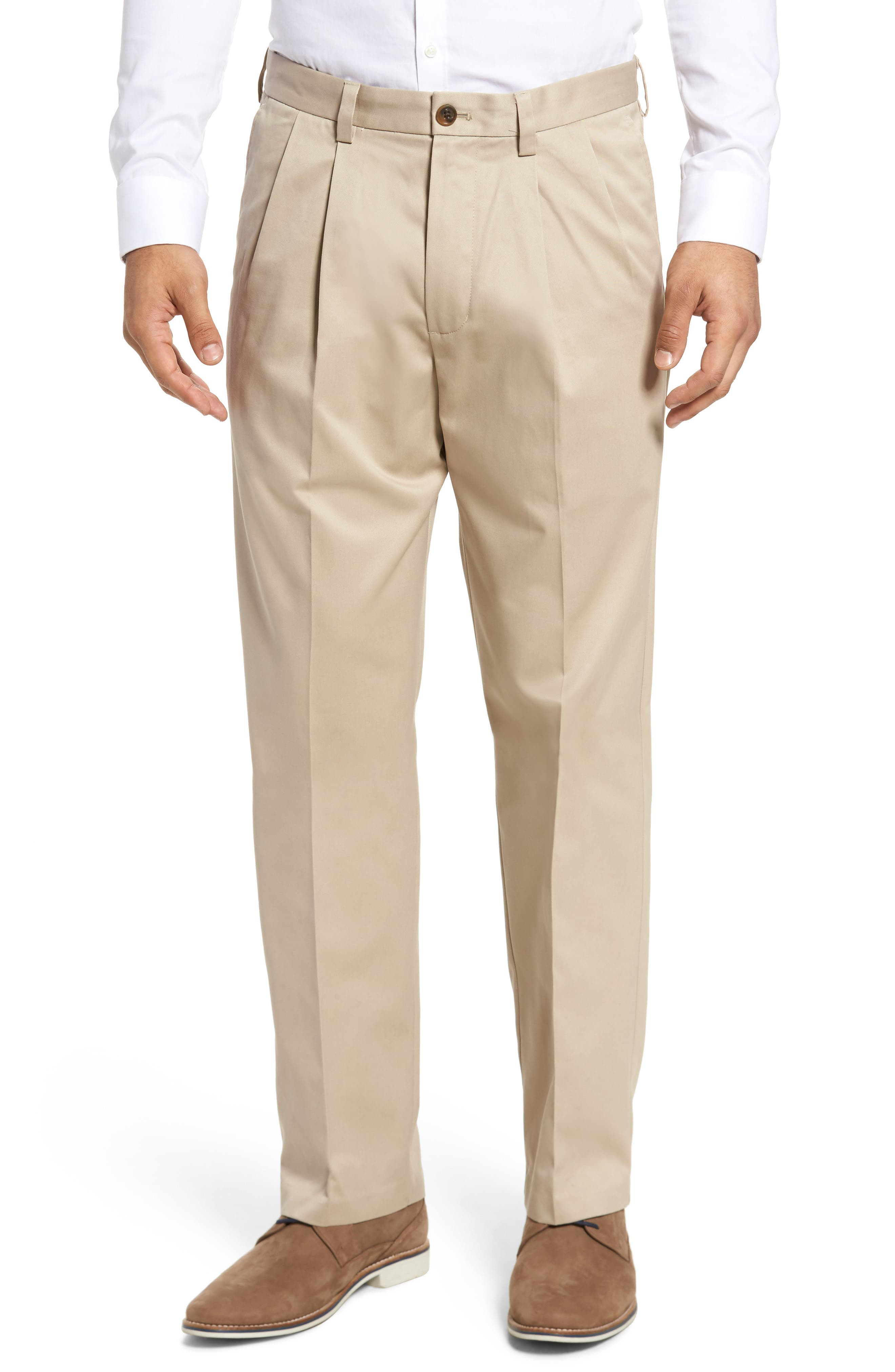 Men's Big & Tall Nordstrom Men's Shop 'Classic' Smartcare(TM) Relaxed Fit Double Pleated Cotton Pants