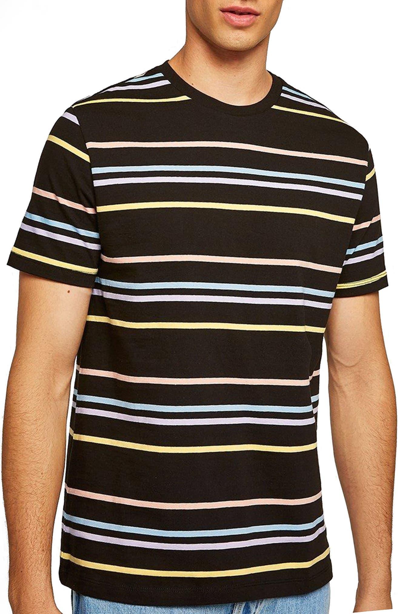 Classic Fit Rainbow Stripe T-Shirt,                             Main thumbnail 1, color,                             001