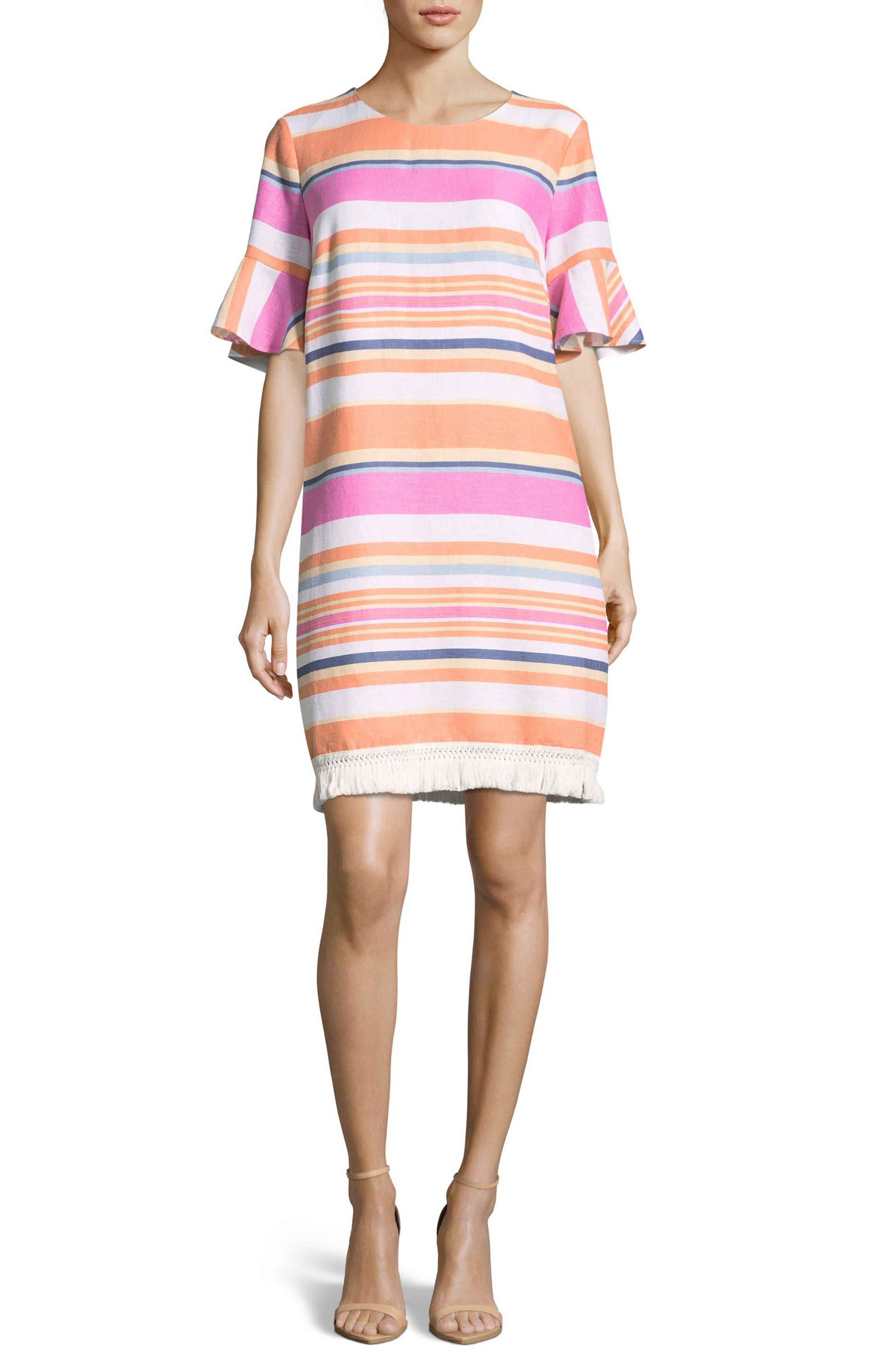 Eci Stripe Ruffle Cuff Shift Dress, Pink