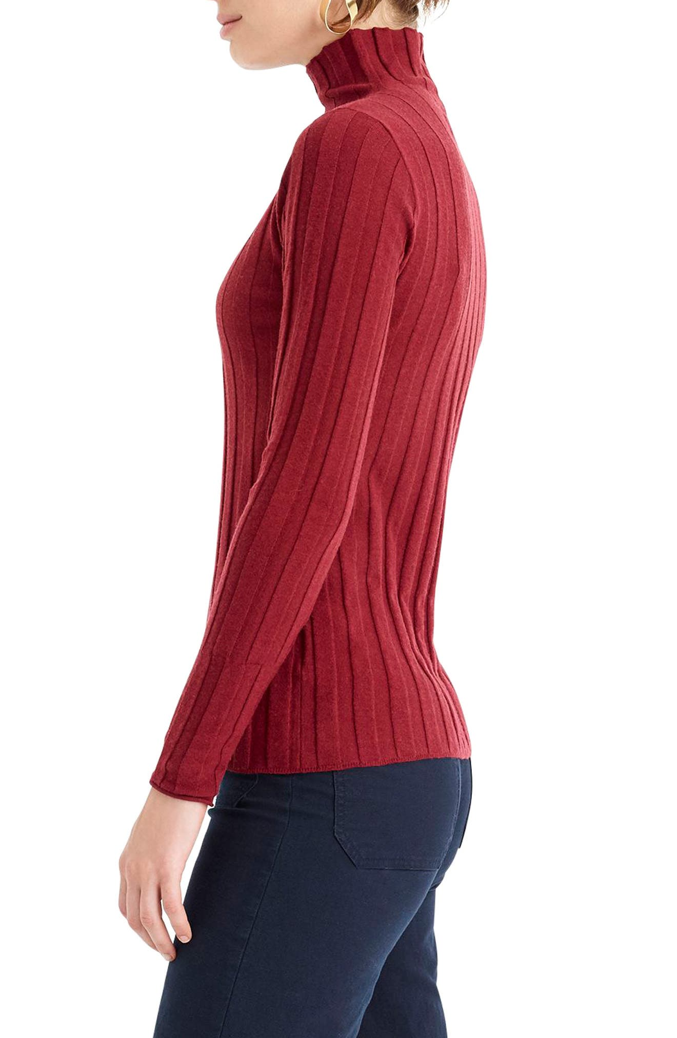 365 Stretch Ribbed Turtleneck Sweater,                             Alternate thumbnail 3, color,                             930