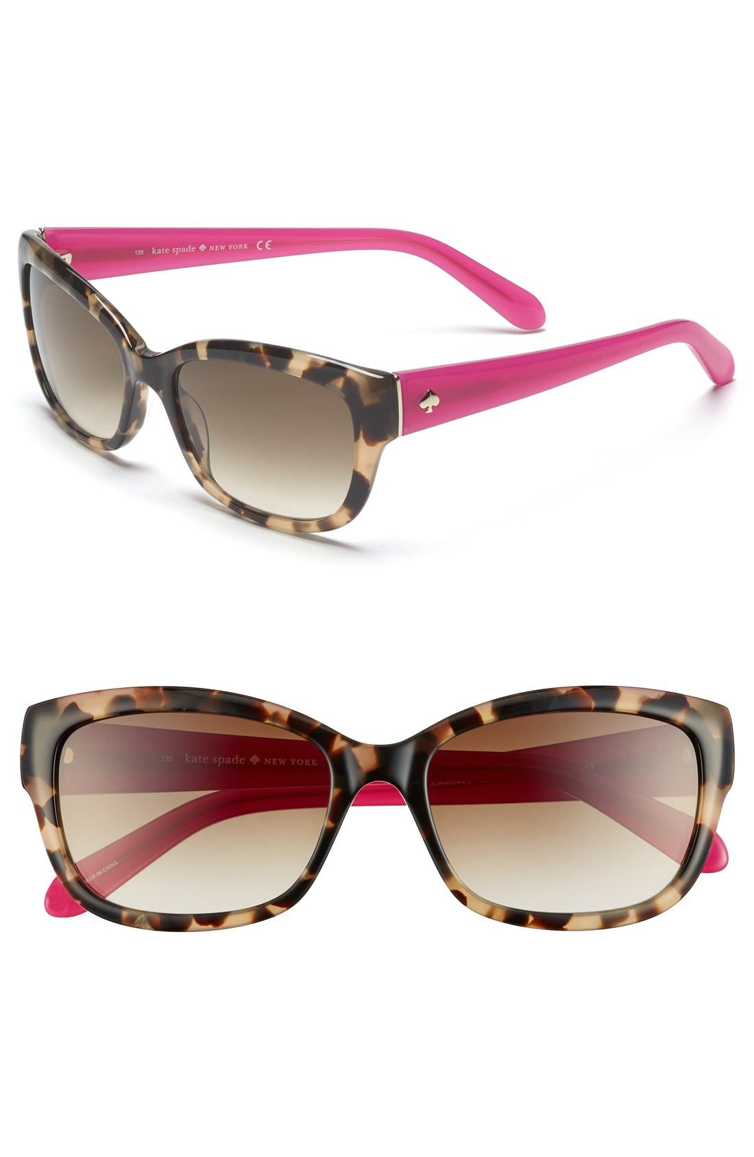 kate spade 'johanna' 53mm retro sunglasses,                         Main,                         color, CAMEL TORTOISE