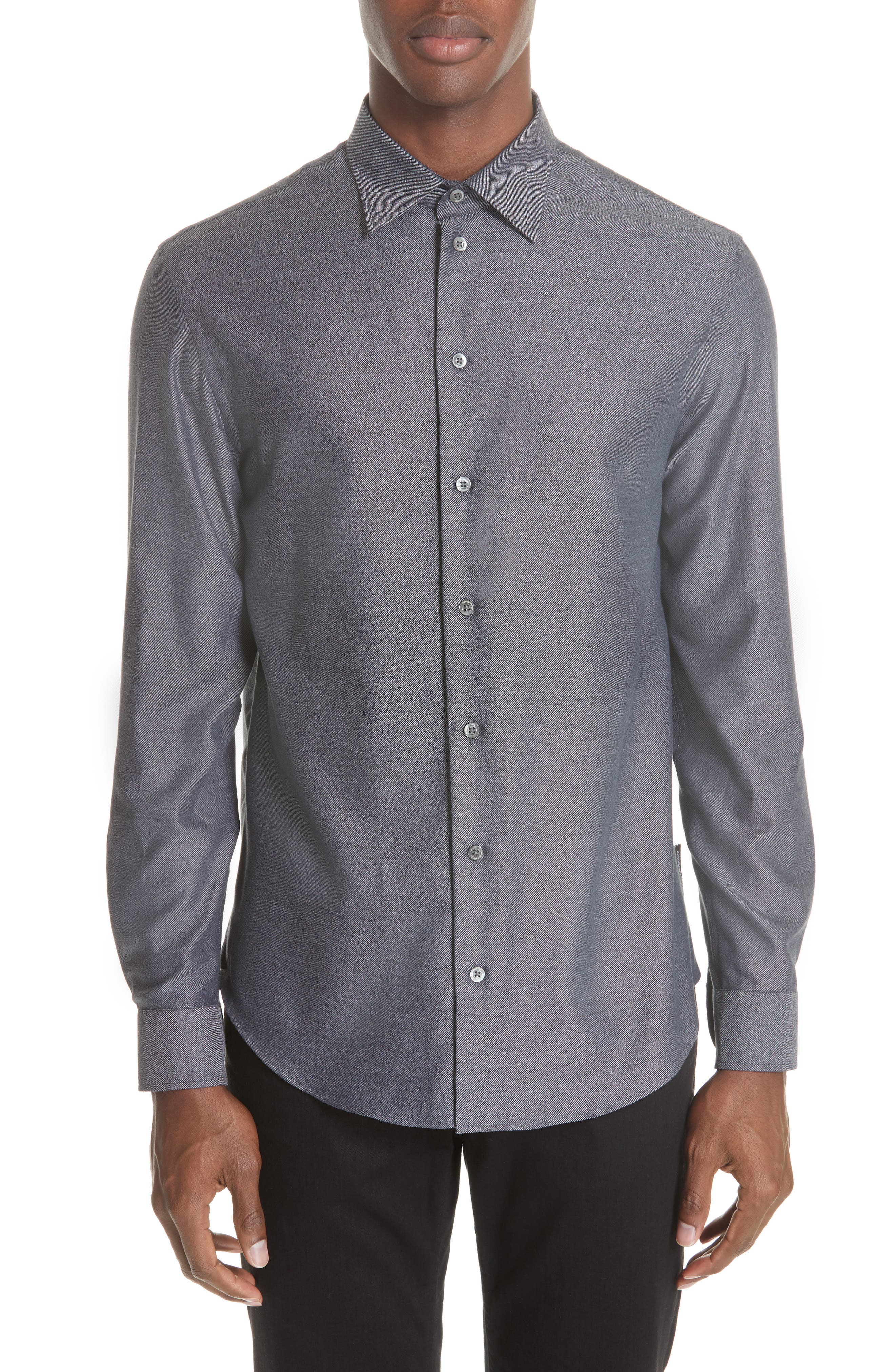 EMPORIO ARMANI Men'S Long-Sleeve Button-Front Melange Twill Woven Shirt in Grey Multi