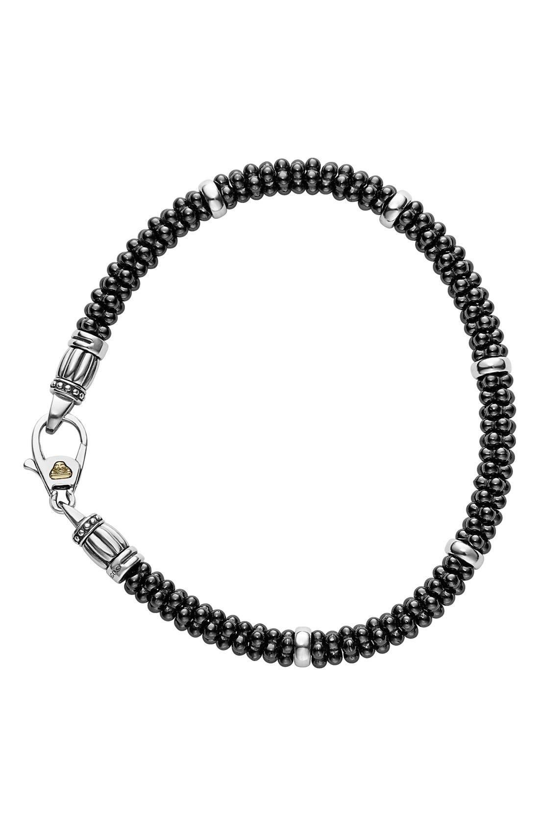 'Black & White Caviar' Bracelet,                             Alternate thumbnail 3, color,                             BLACK/ SILVER
