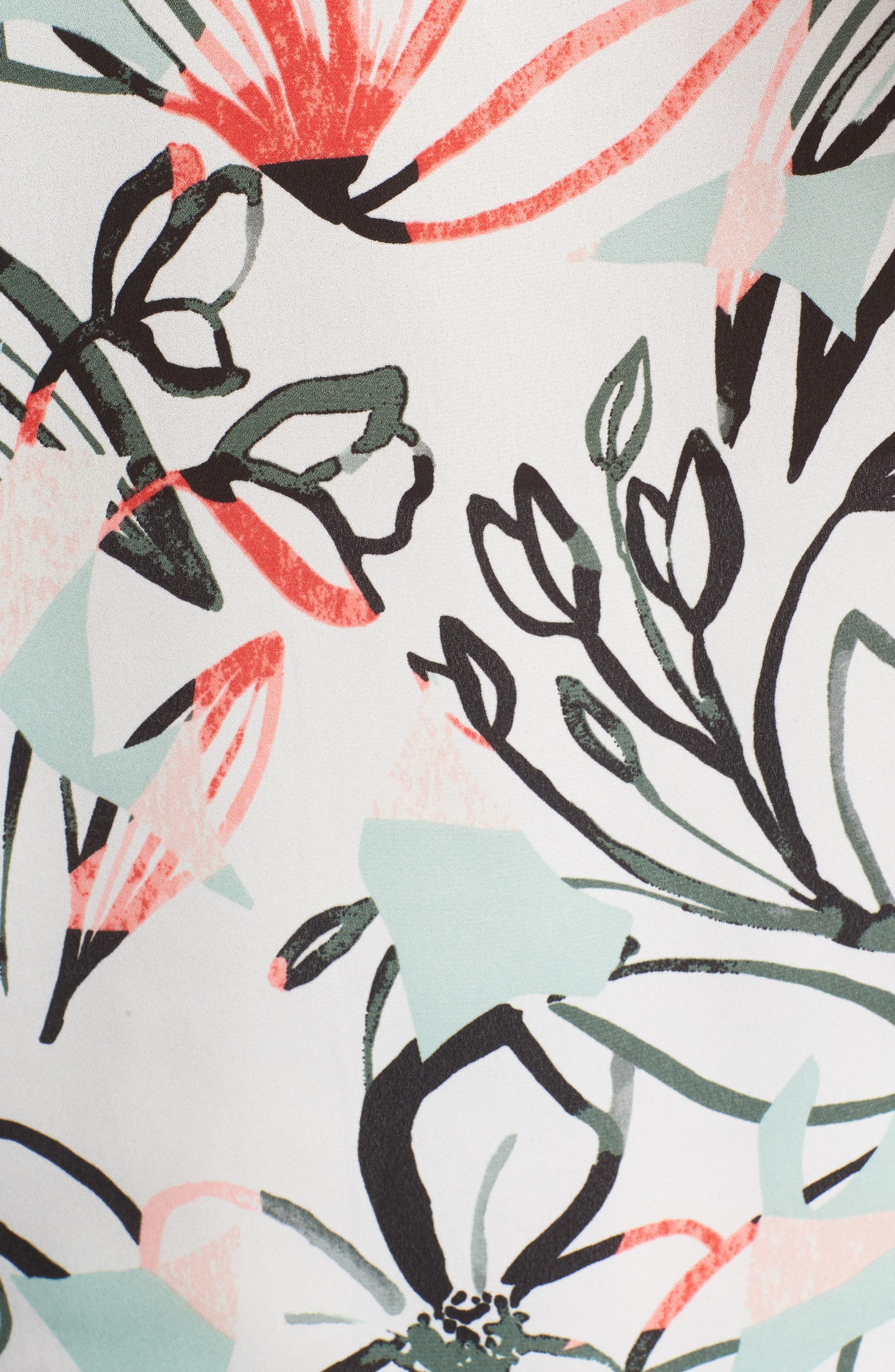 Jungle Collage Pintuck Blouse,                             Alternate thumbnail 6, color,                             900
