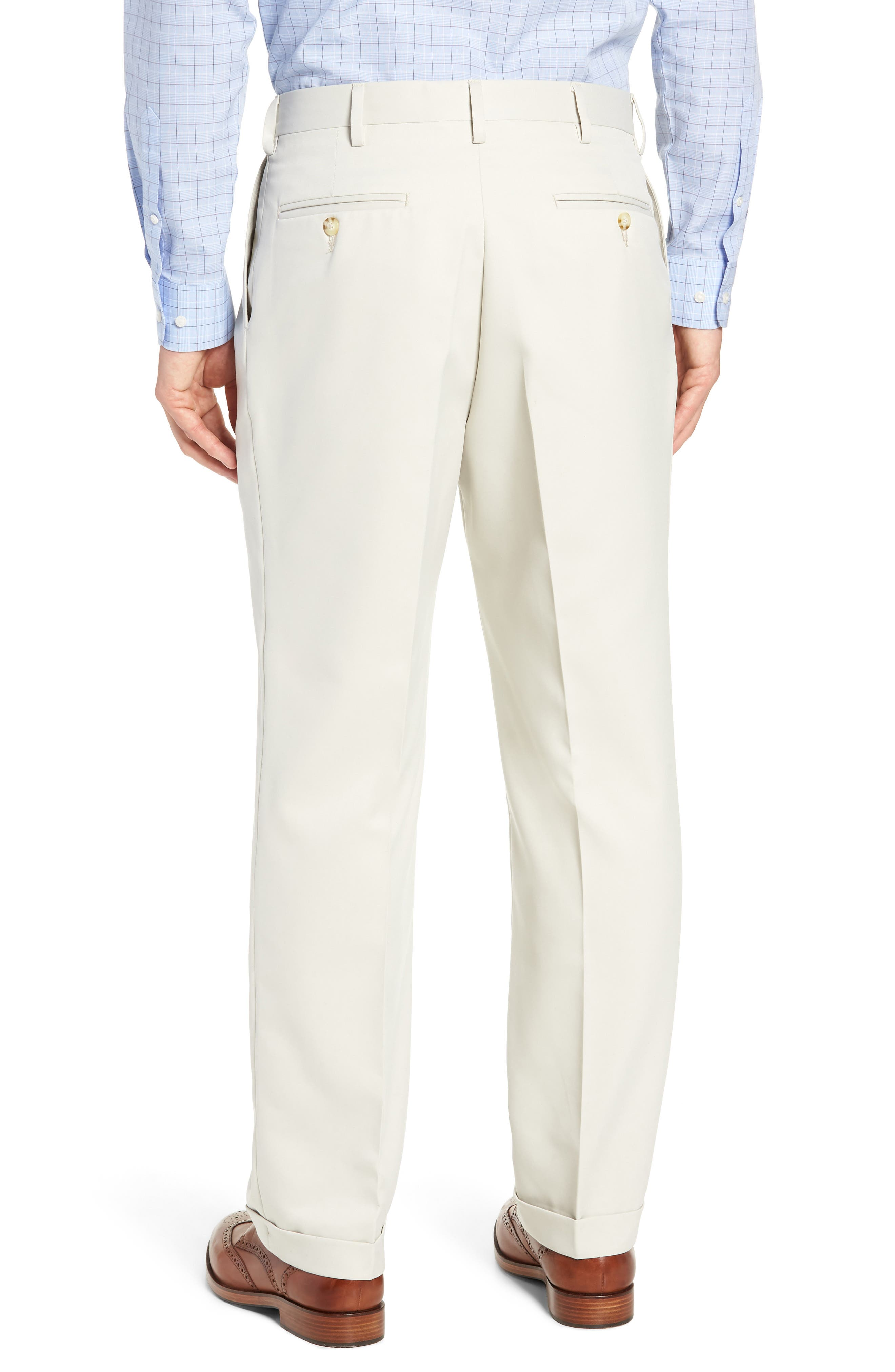 BERLE,                             Classic Fit Pleated Microfiber Performance Trousers,                             Alternate thumbnail 2, color,                             GREY