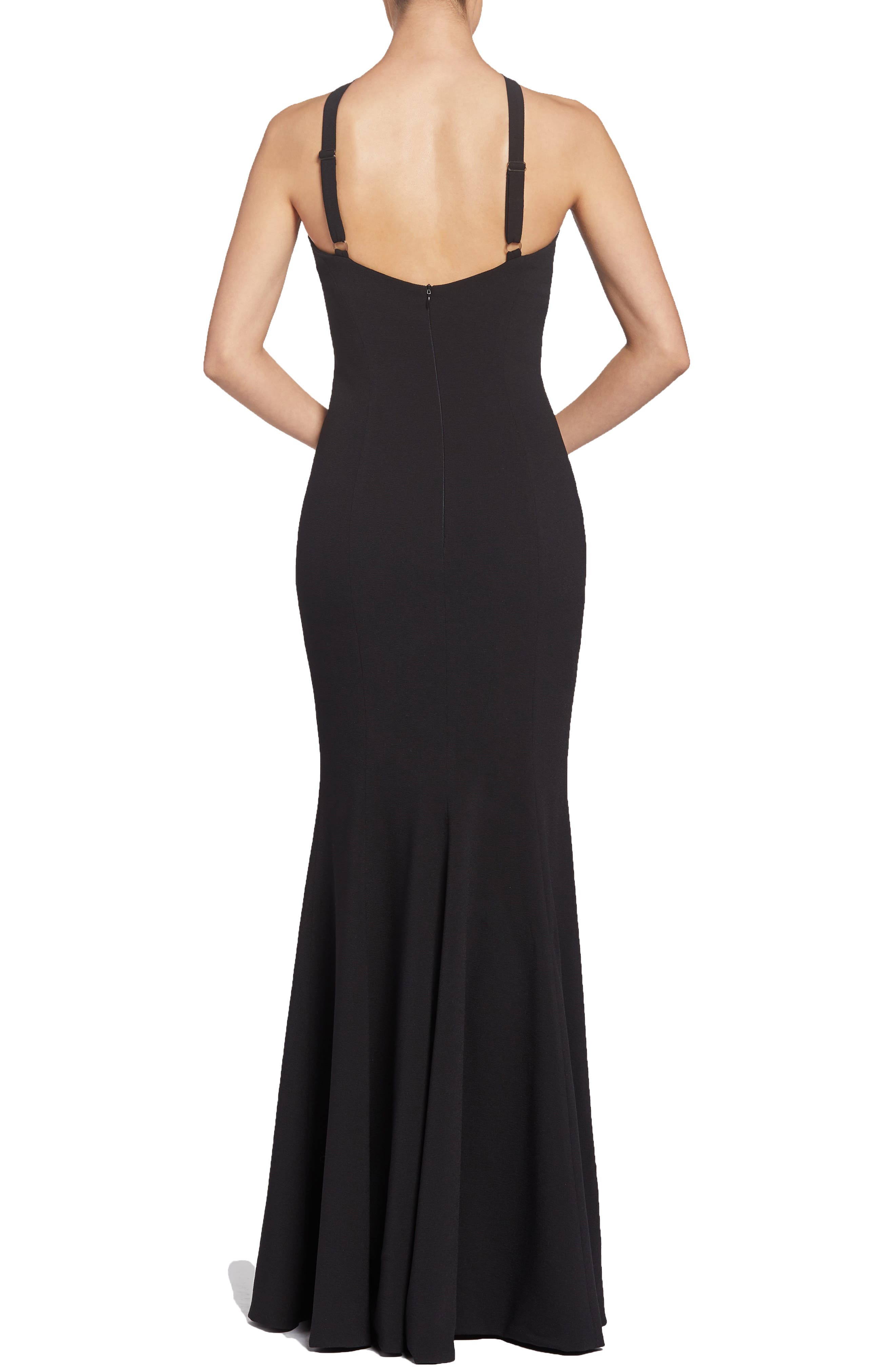 Brianna Halter Style Trumpet Gown,                             Alternate thumbnail 2, color,                             BLACK