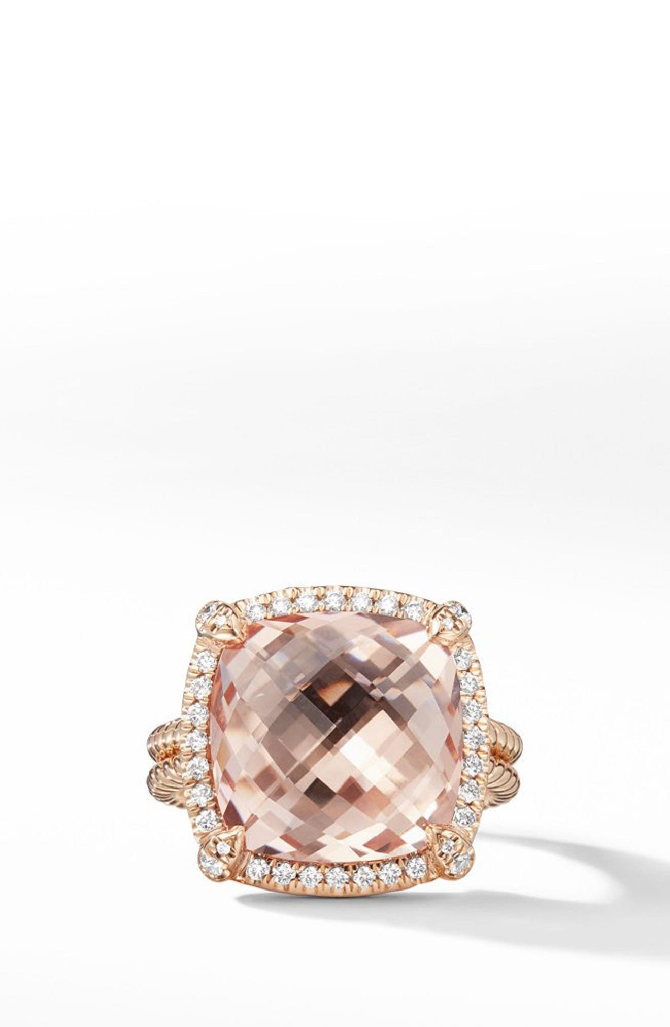 Chatelaine Pavé Bezel Ring in 18K Rose Gold with Morganite,                             Alternate thumbnail 2, color,                             ROSE GOLD/ DIAMOND/ MORGANITE