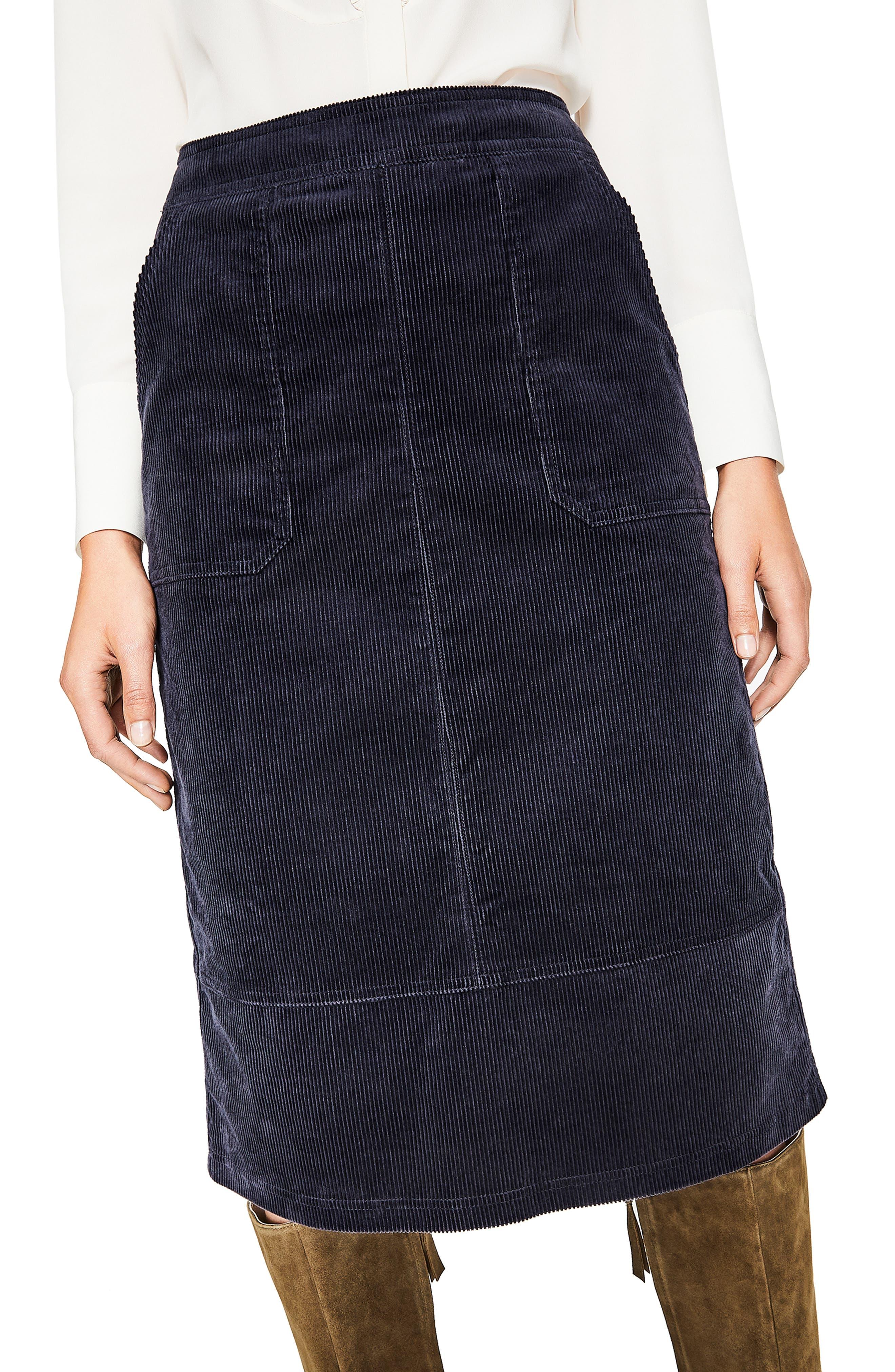 Patch Pocket Corduroy Midi Skirt,                             Alternate thumbnail 4, color,                             024