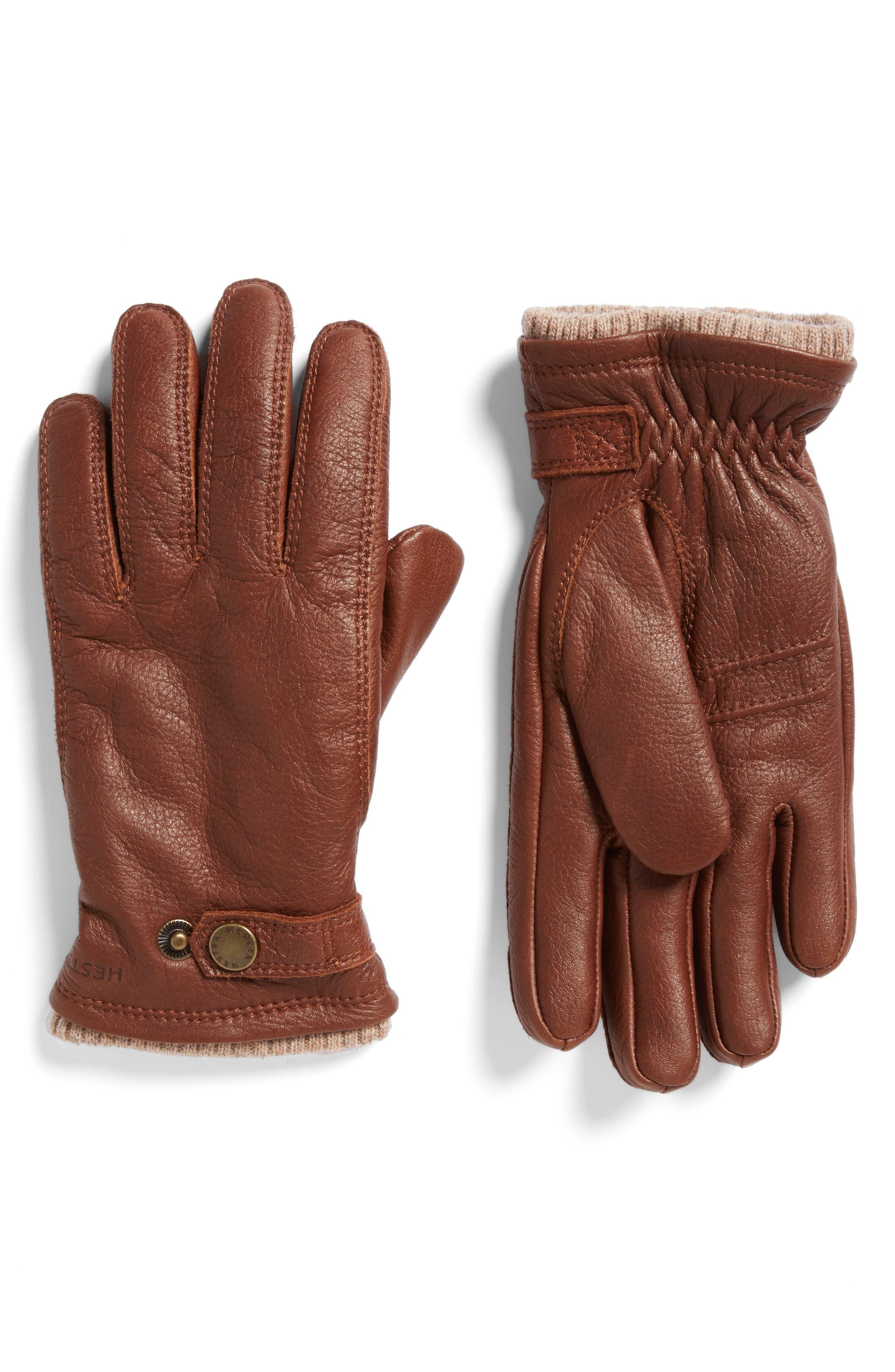 Hestra Utsjo Leather Gloves, Brown