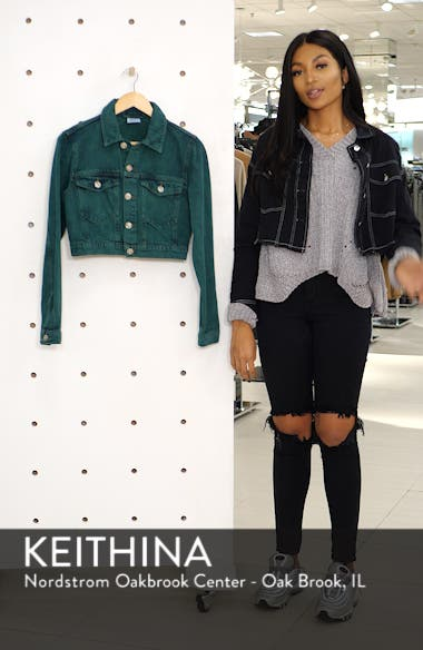 Urban Outfitters Overdyed Crop Denim Jacket, sales video thumbnail