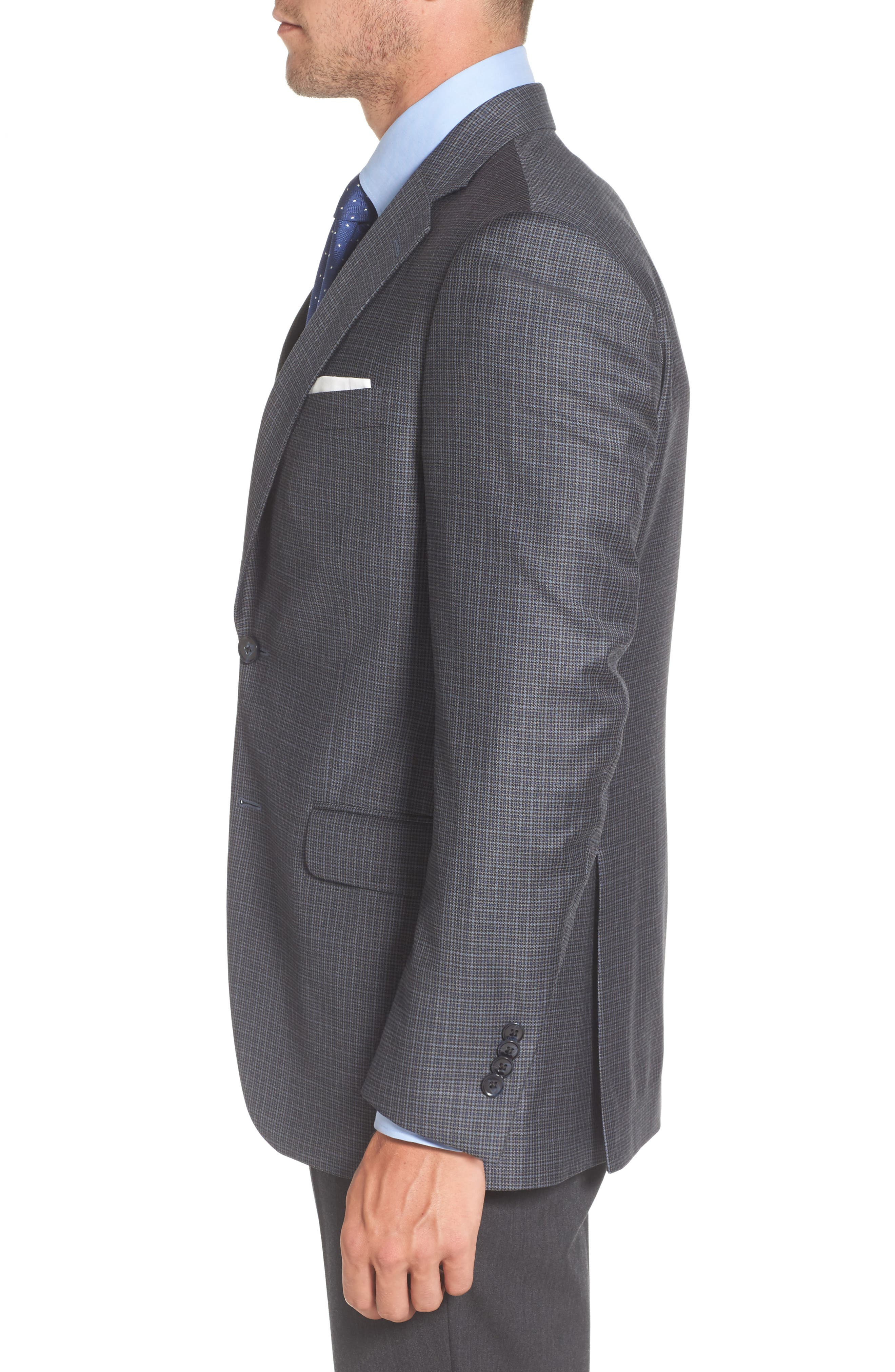Flynn Classic Fit Check Wool Sport Coat,                             Alternate thumbnail 3, color,                             400