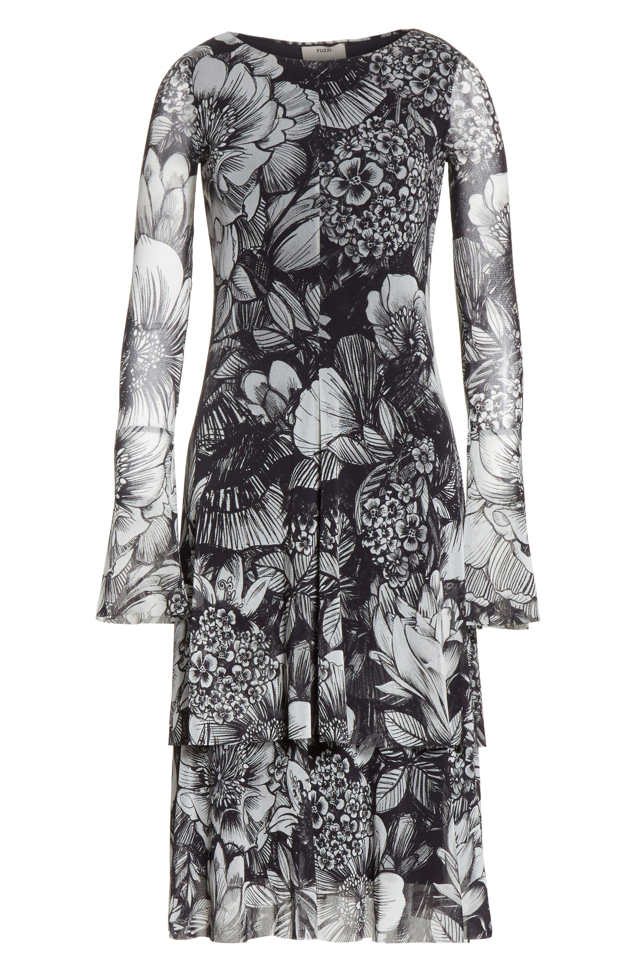 Ruffle Floral Print Tulle Dress,                             Alternate thumbnail 6, color,