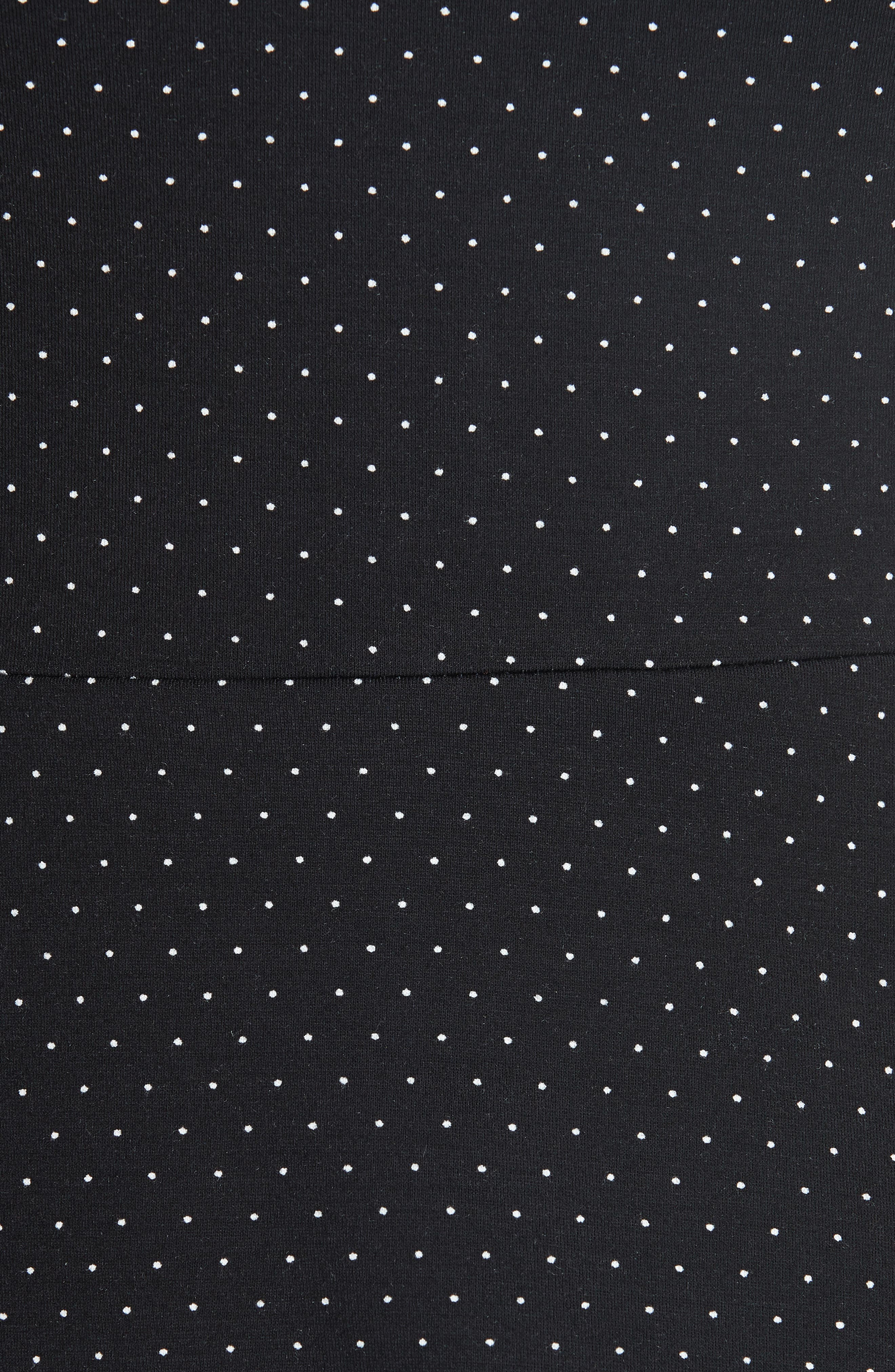pin dot scallop ponte fit & flare dress,                             Alternate thumbnail 6, color,                             001