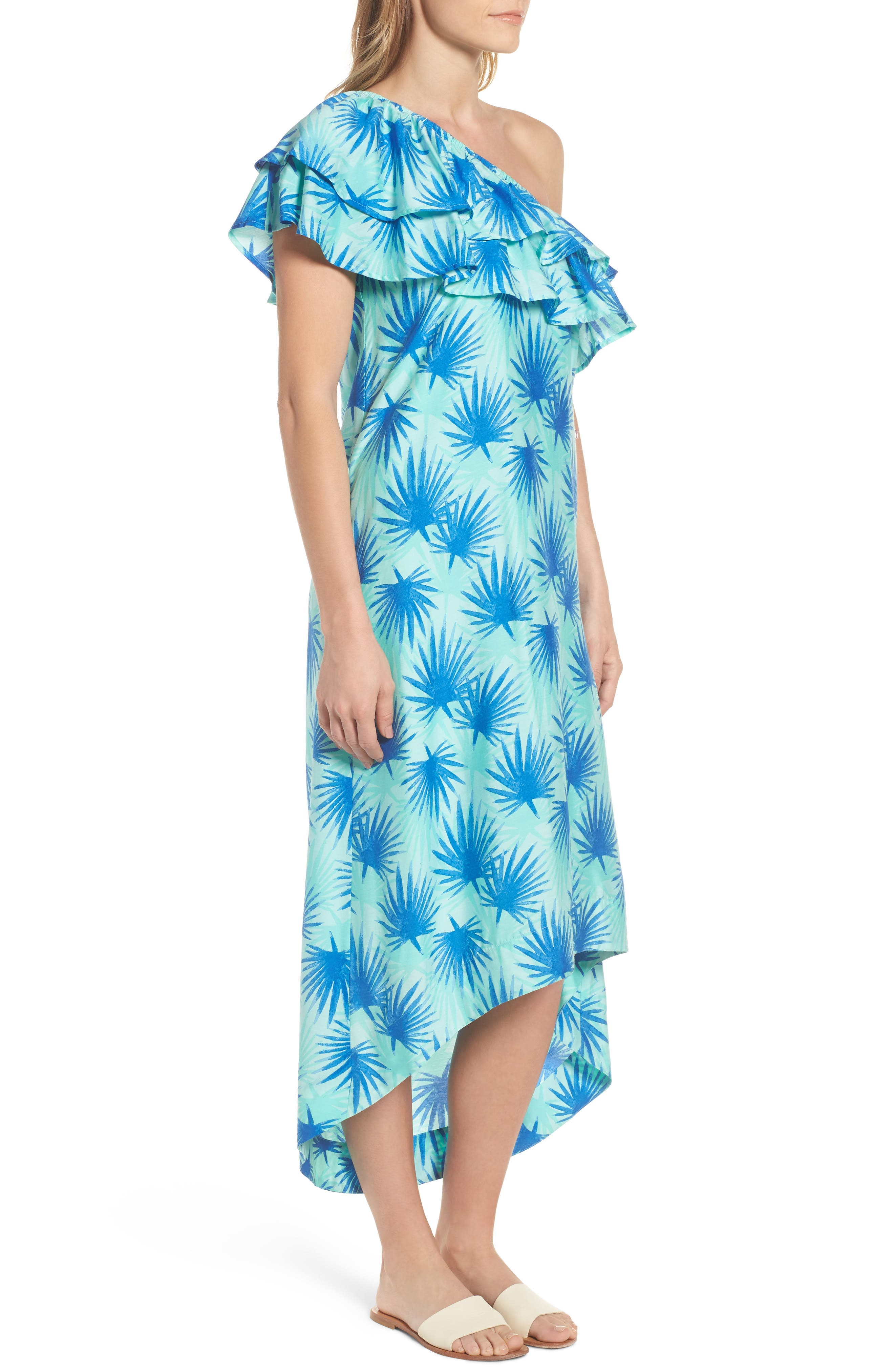 Electric Palm One-Shoulder Silk Blend Dress,                             Alternate thumbnail 3, color,                             479