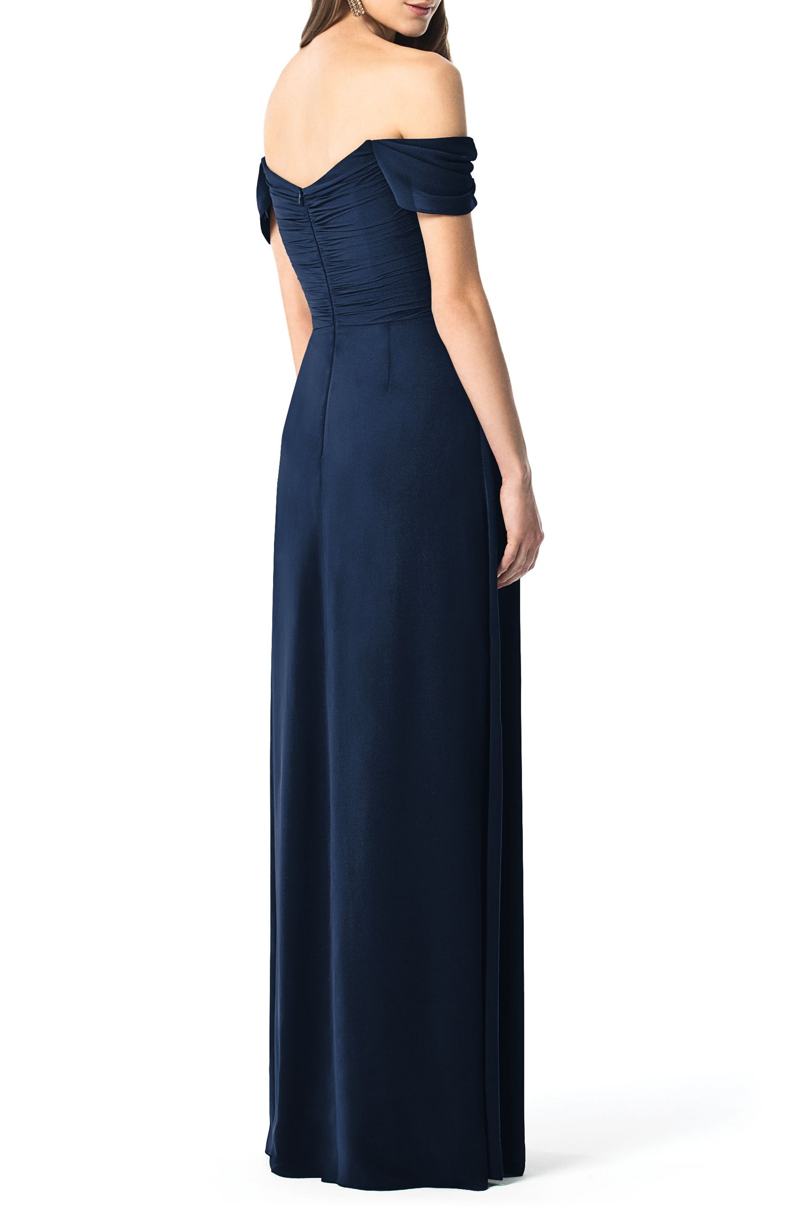 Ruched Chiffon Gown,                             Alternate thumbnail 2, color,                             MIDNIGHT