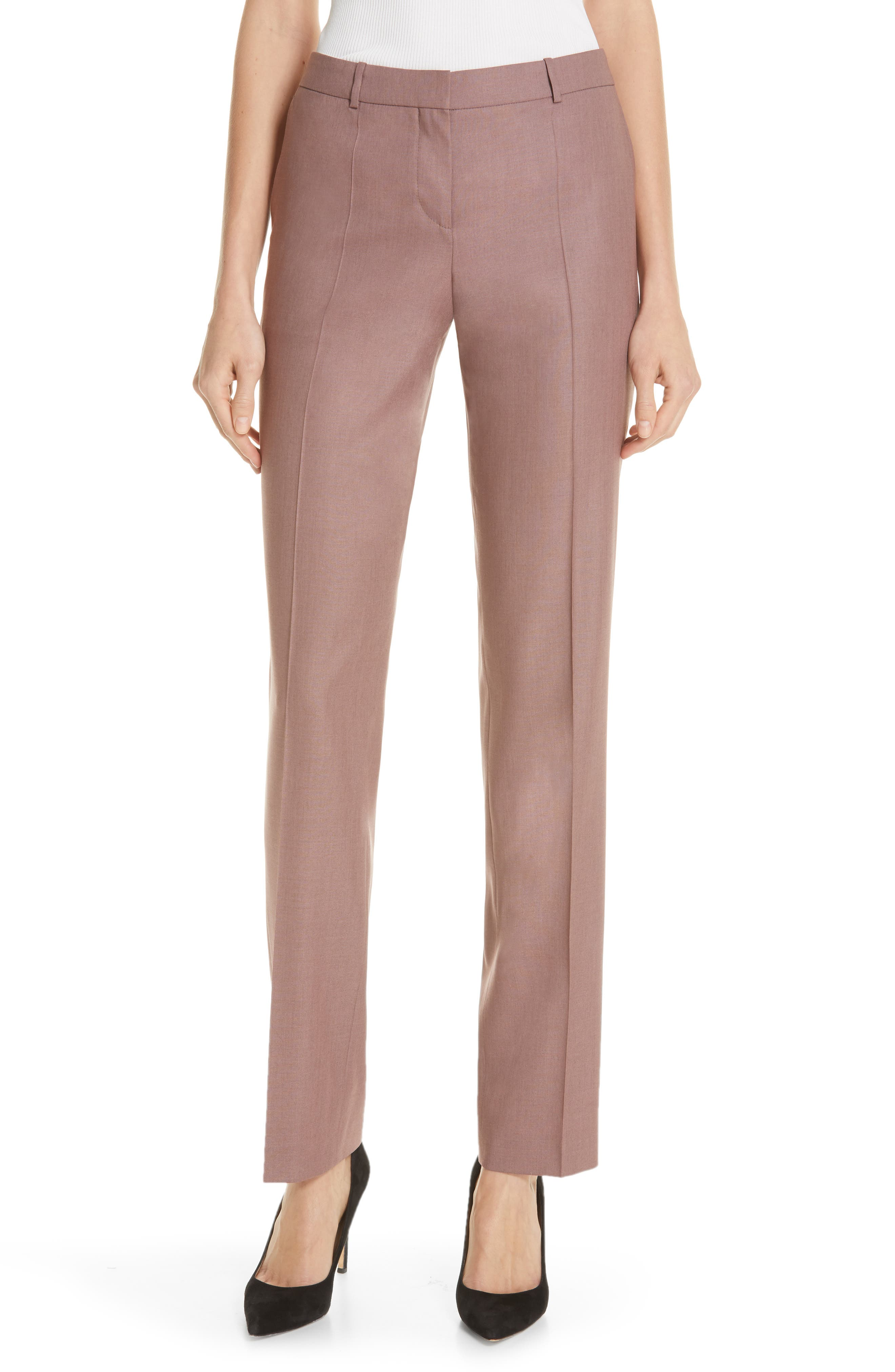 Tamea Straight Leg Wool Suit Trousers, Main, color, SOFT LAVENDER