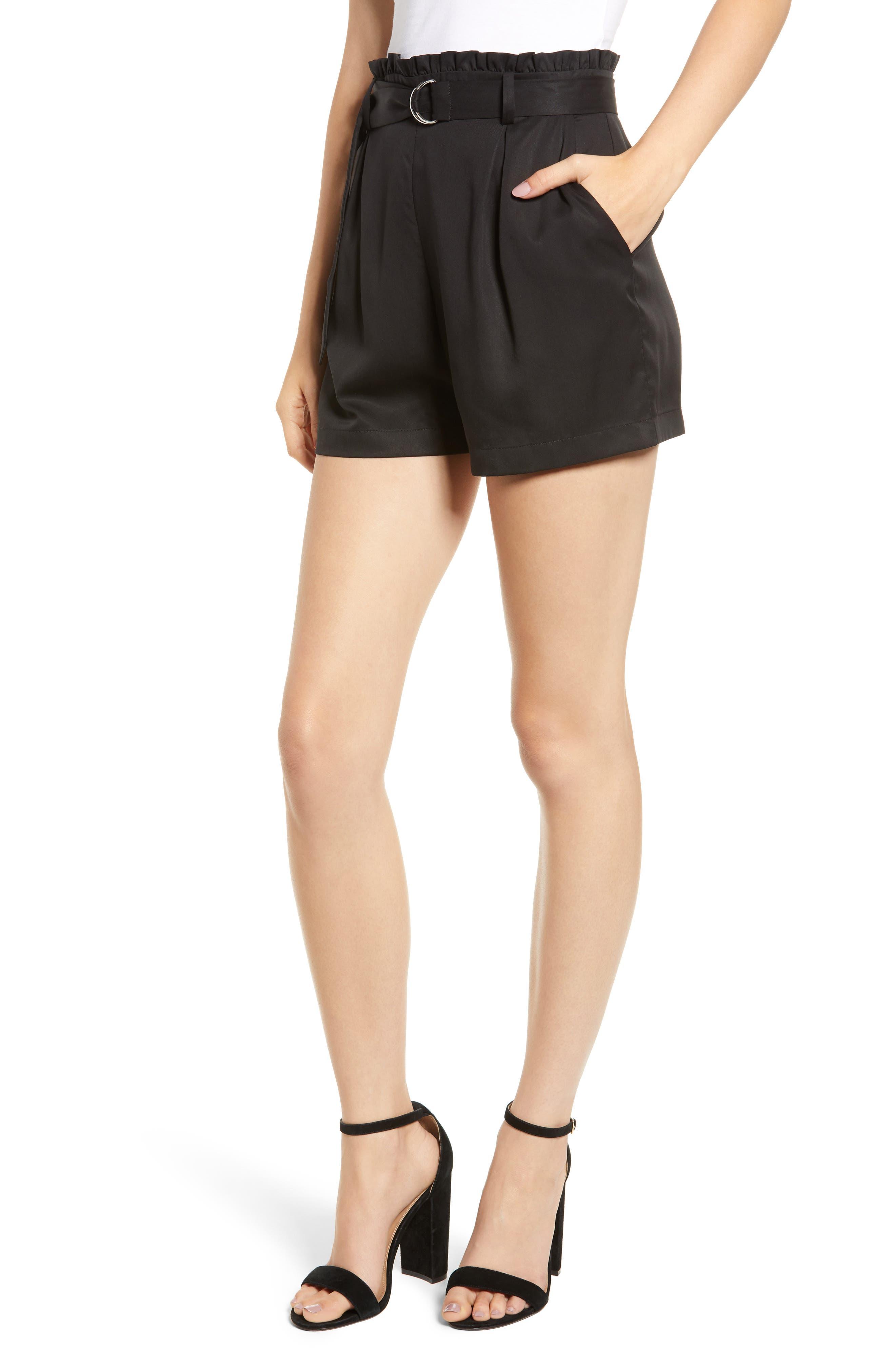 D-Ring Belted Shorts, Main, color, BLACK