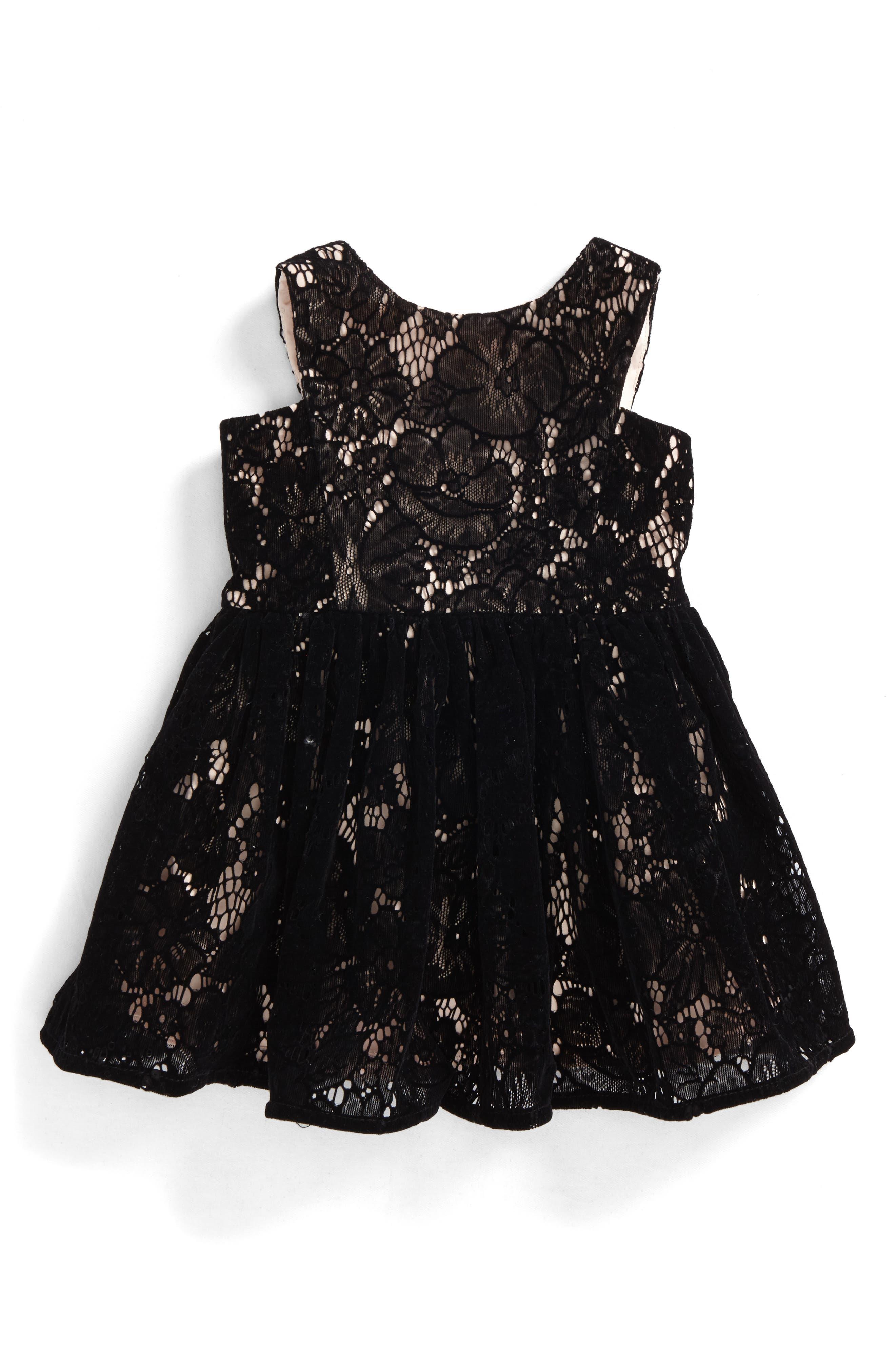 Flocked Lace Dress,                             Main thumbnail 1, color,                             001
