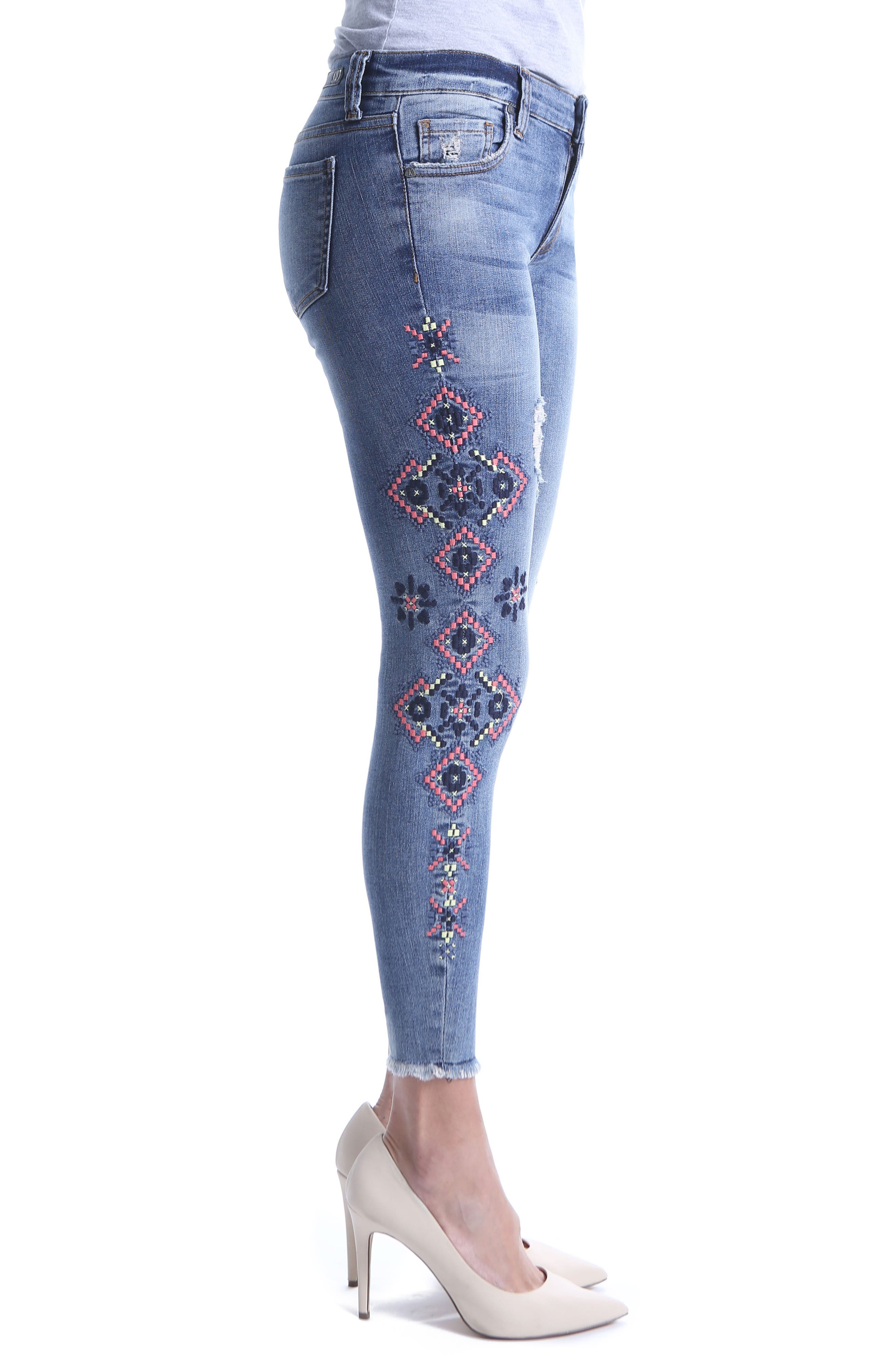 Connie Skinny Embroidered Ankle Jeans,                             Alternate thumbnail 3, color,