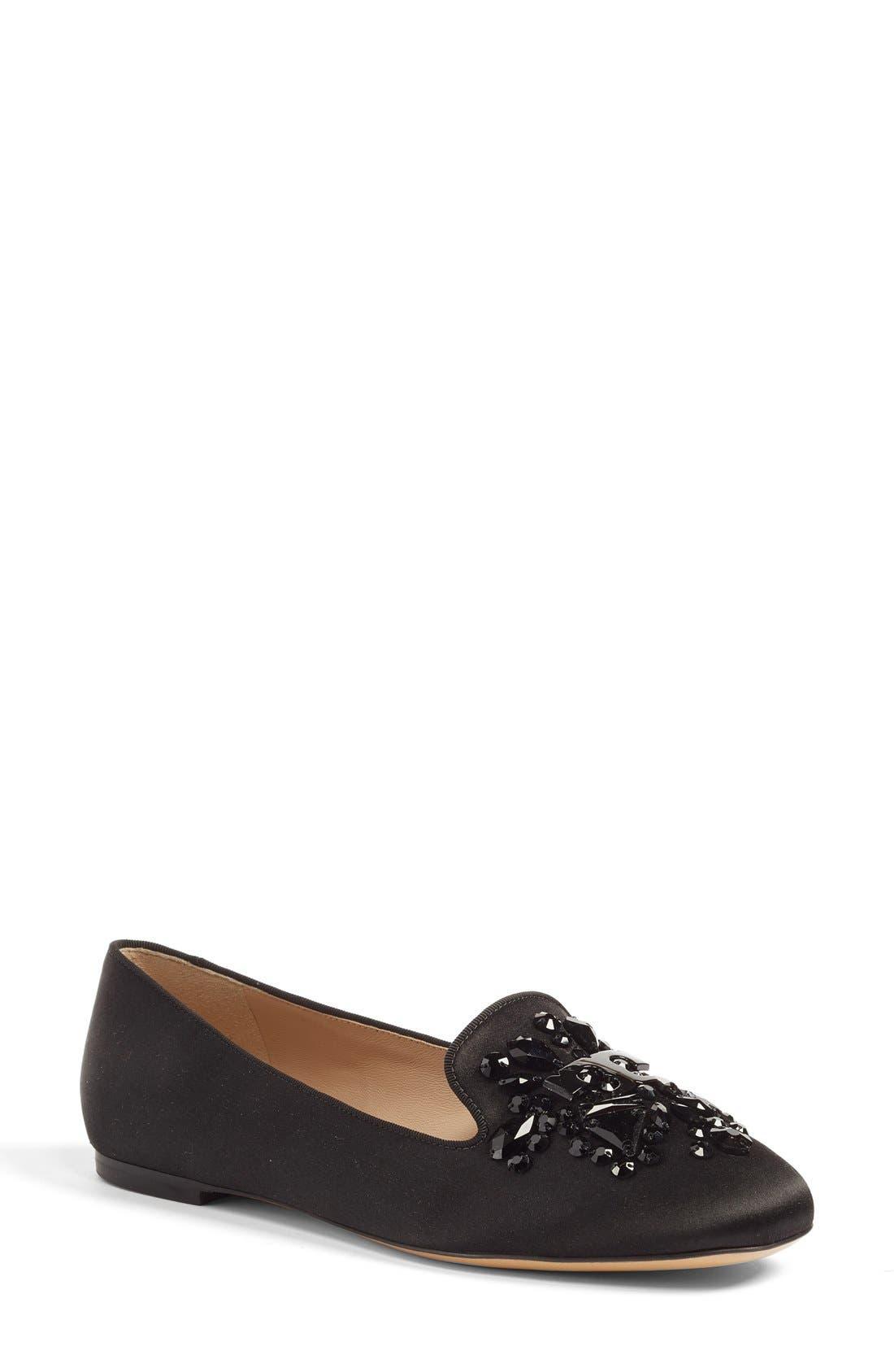 'Delphine' Embellished Loafer, Main, color, 001